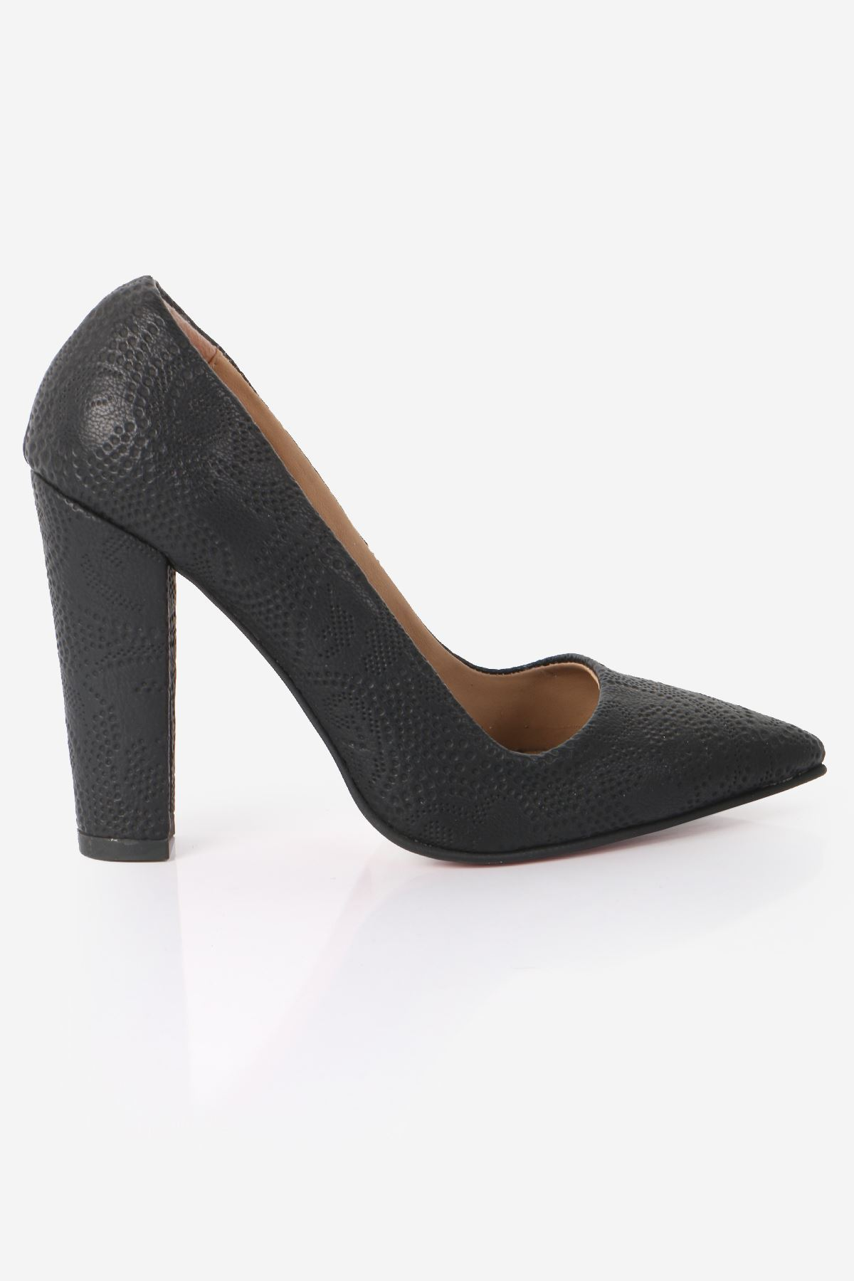 Siyah Lazer Desen Deri Kalın Topuklu Stiletto