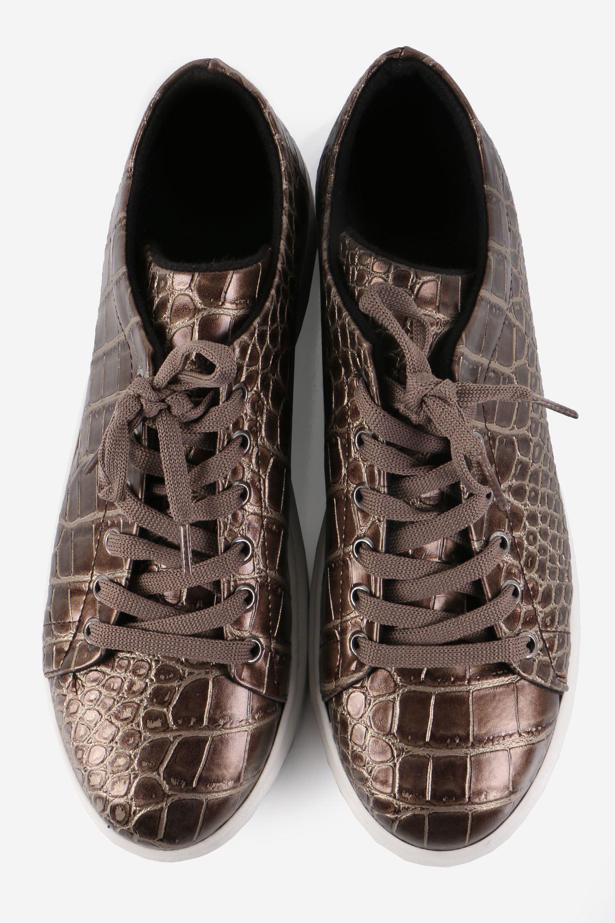 Bronz Kroko Desen Sneaker Ayakkabı