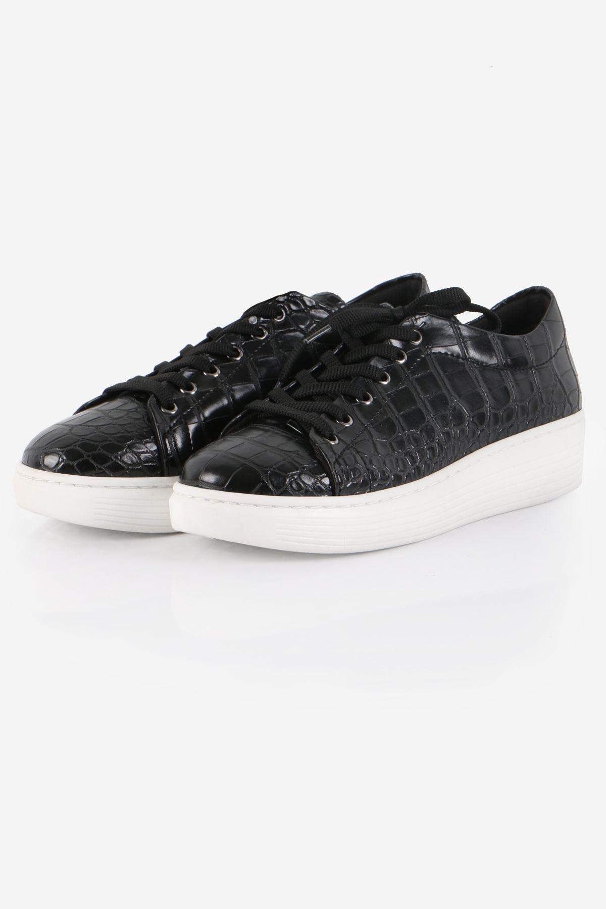 Siyah Kroko Desenli Sneaker Ayakkabı