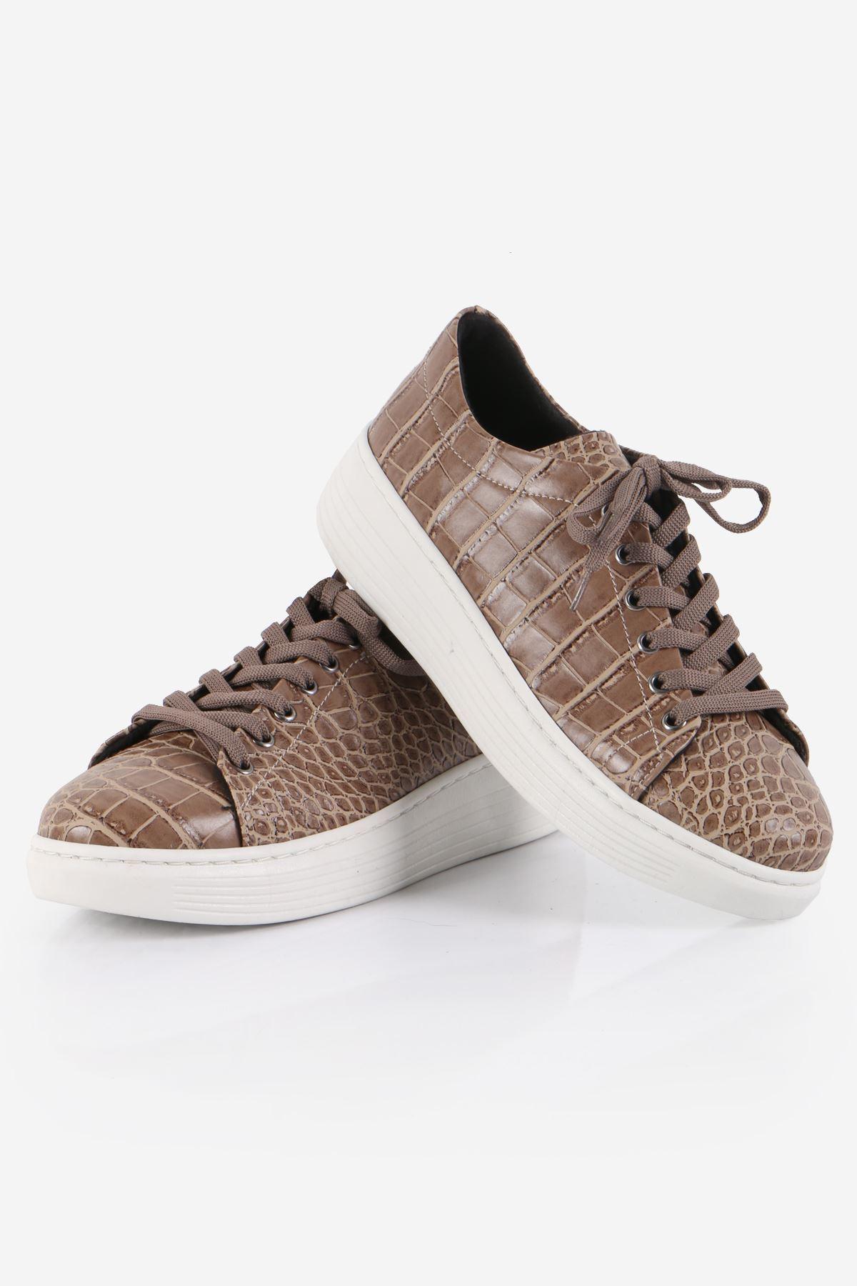 Vizon Kroko Desenli Sneaker Ayakkabı