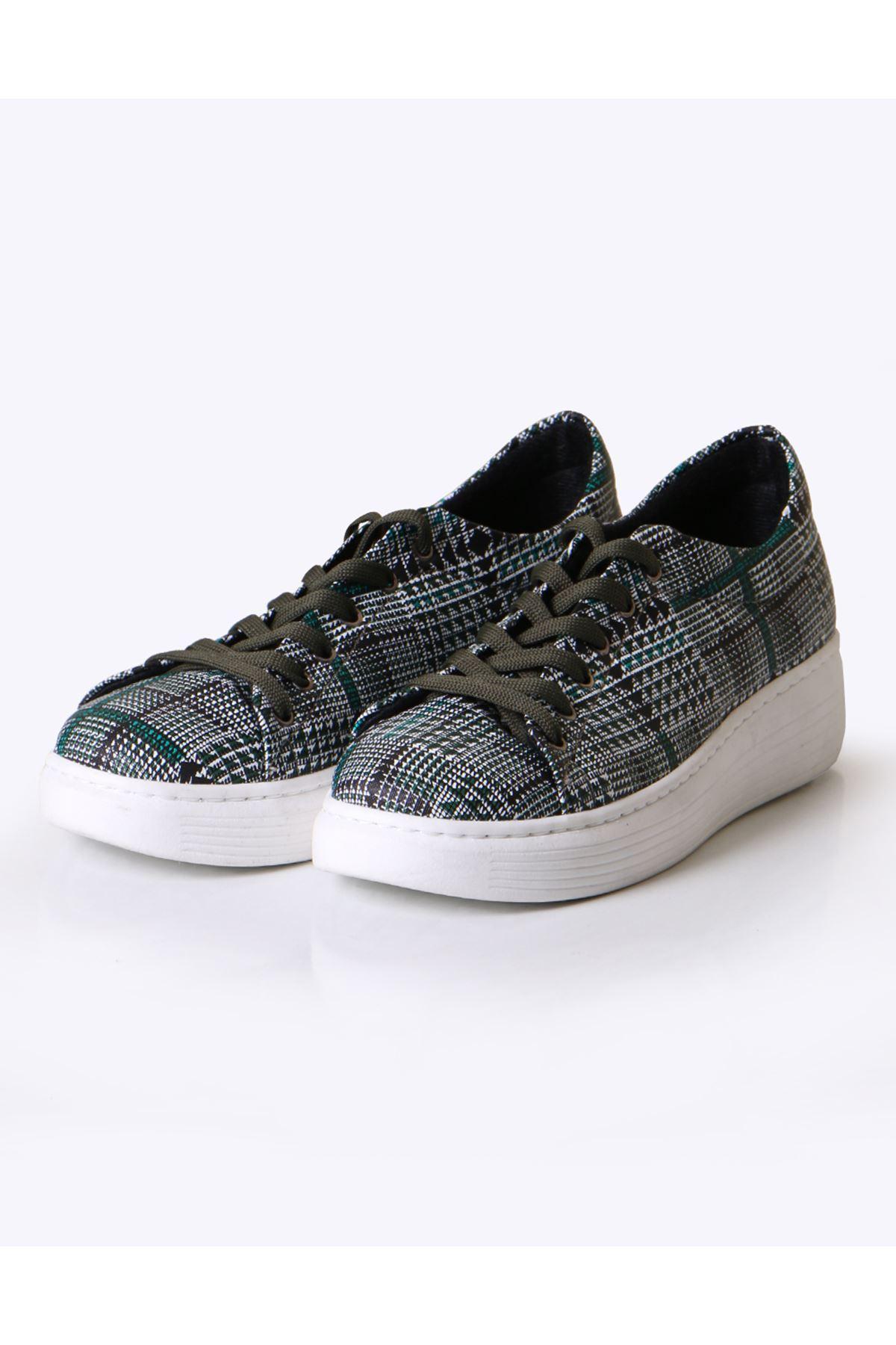 Haki Ekose Desen Sneaker Ayakkabı