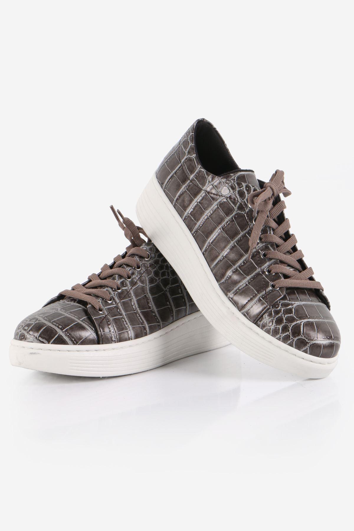Gri Kroko Desenli Sneaker Ayakkabı