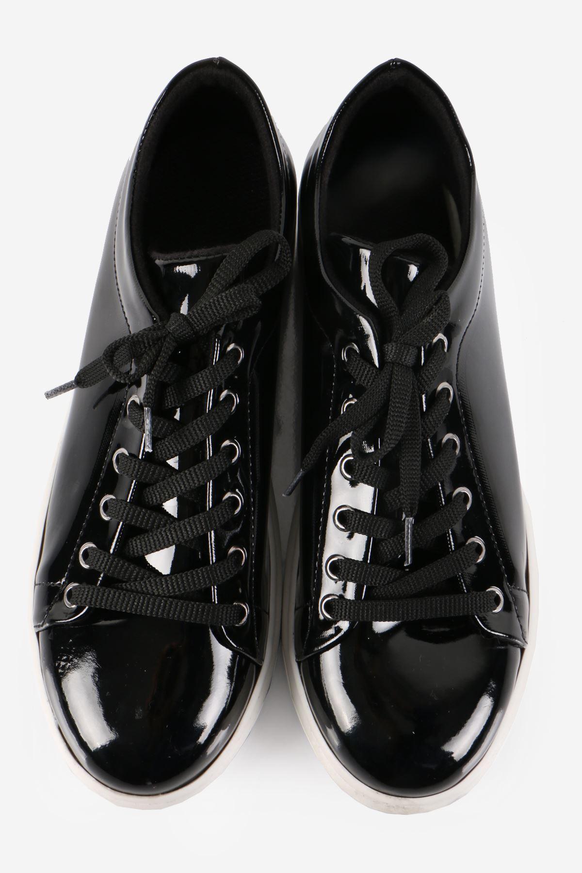 Siyah Rugan Bağcıklı Sneaker Ayakkabı