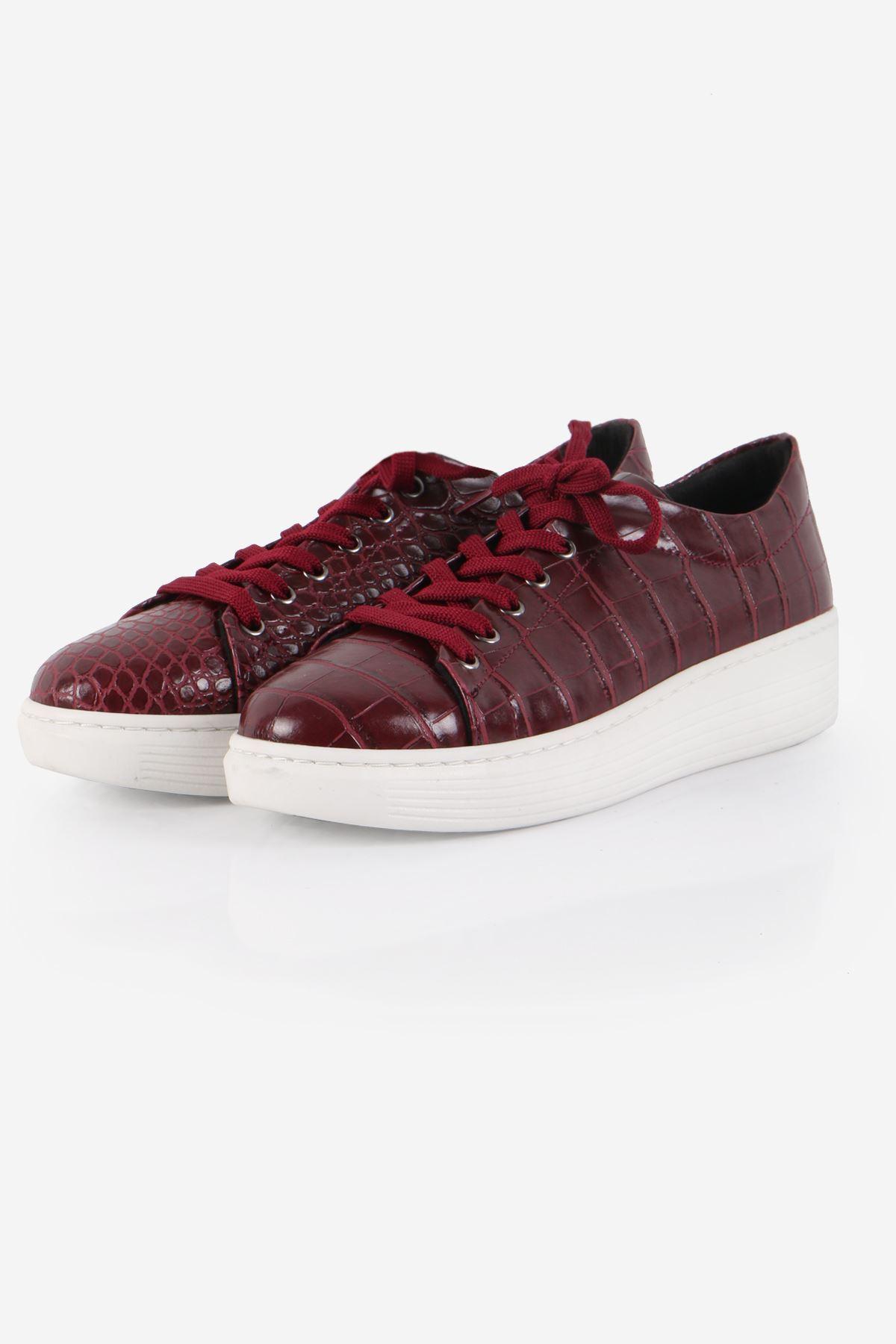 Bordo Kroko Desenli Sneaker Ayakkabı