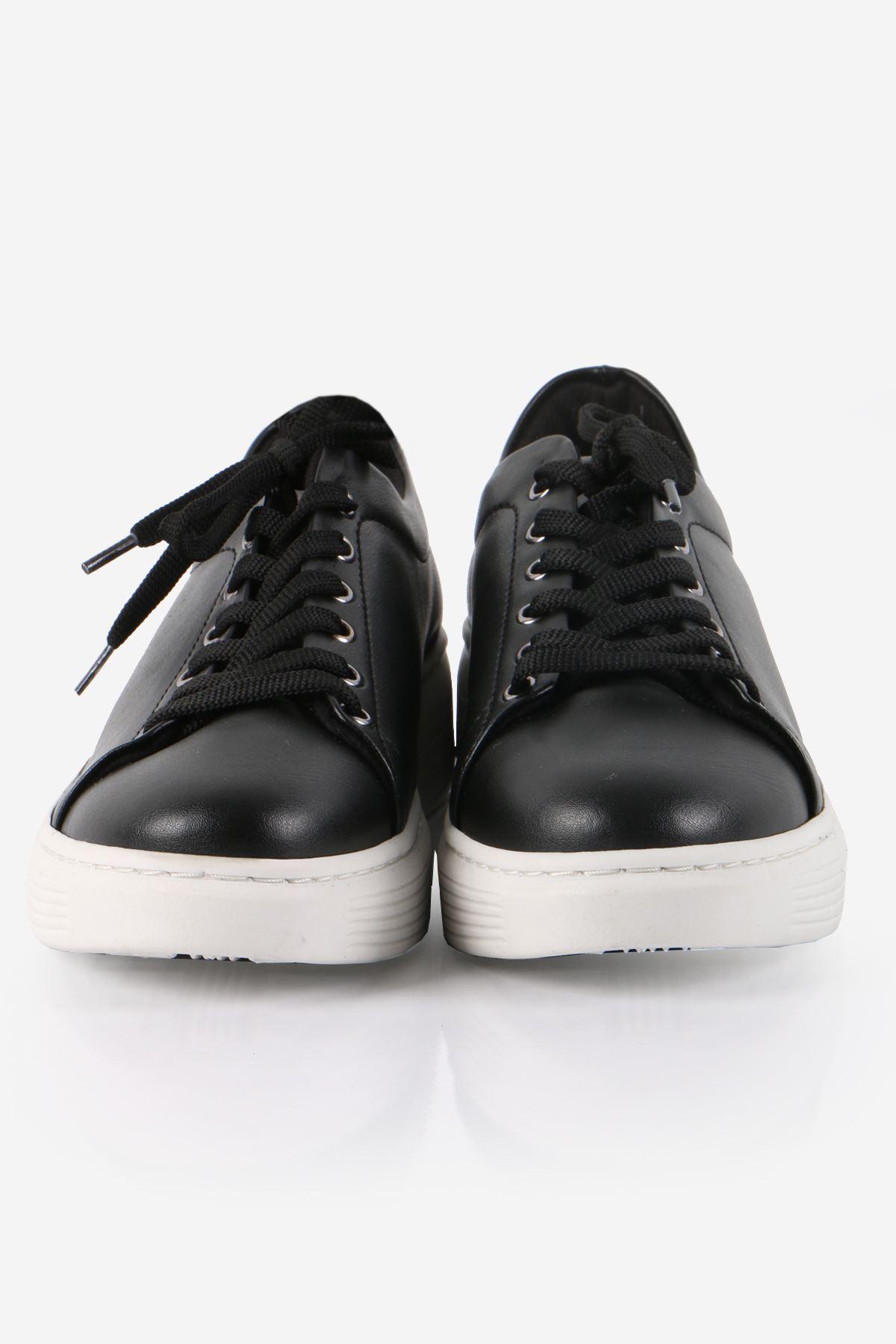 Siyah Bağcıklı Sneaker Ayakkabı