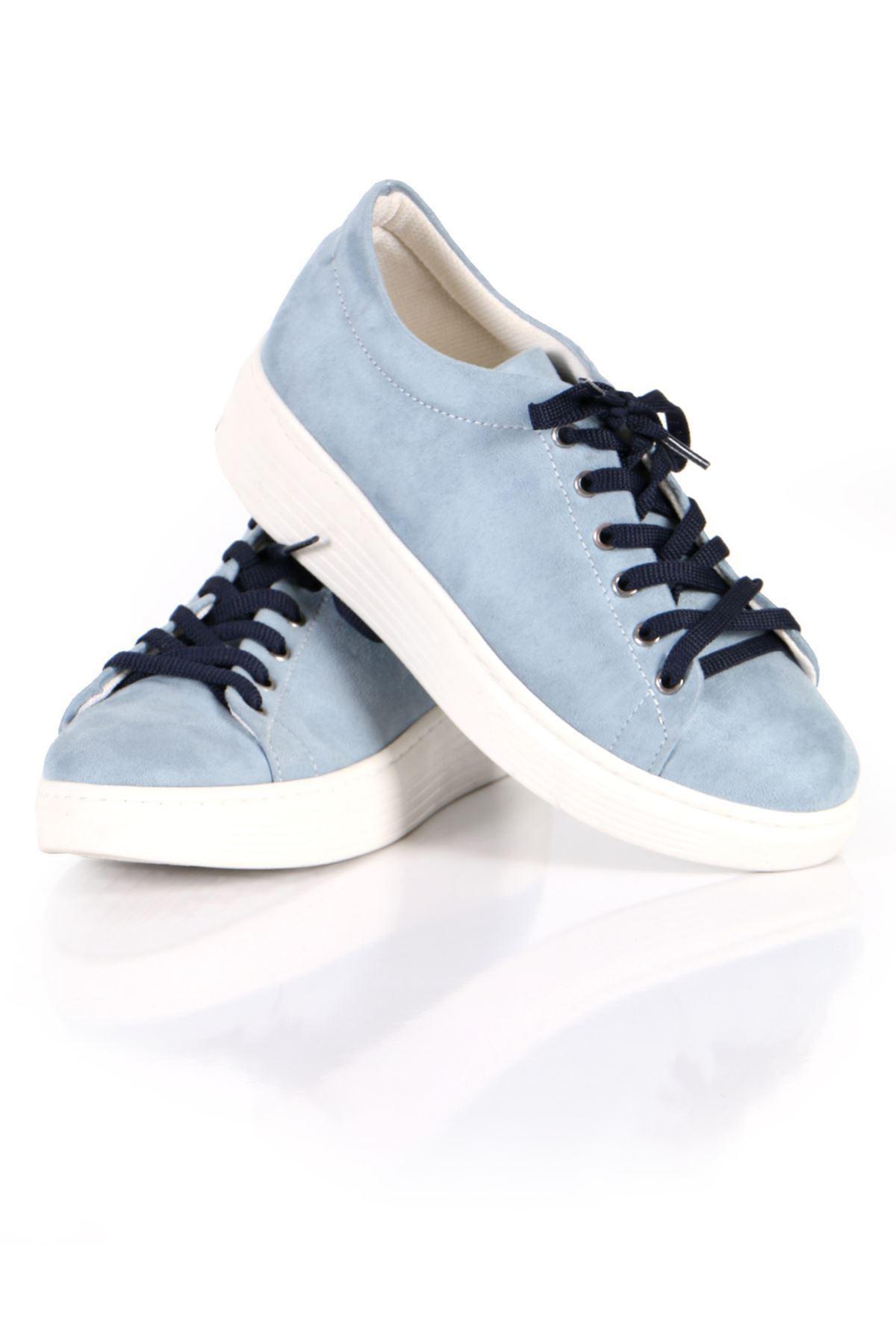 Bebe Mavisi Süet Bağcıklı Spor Sneaker Ayakkabı