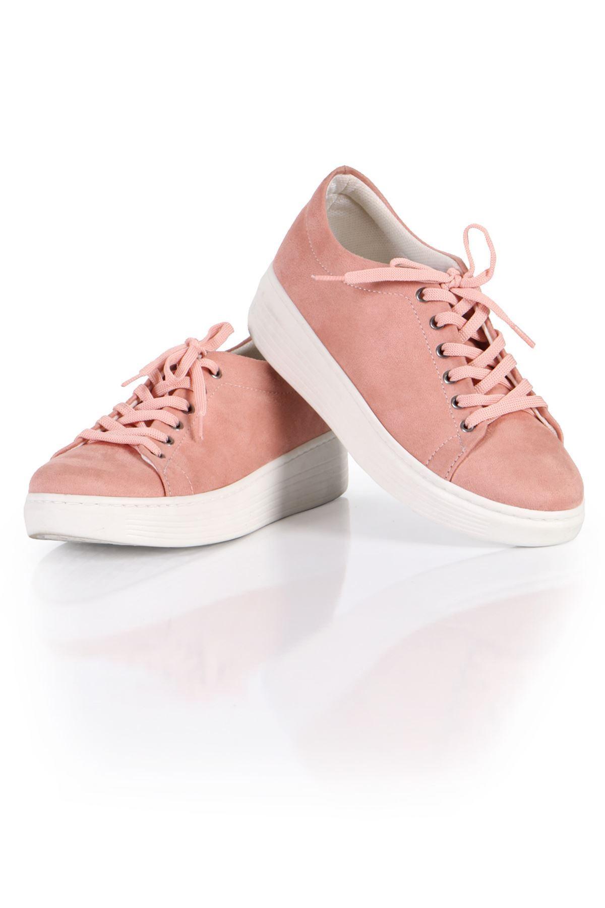 Pudra Süet Bağcıklı Spor Sneaker Ayakkabı