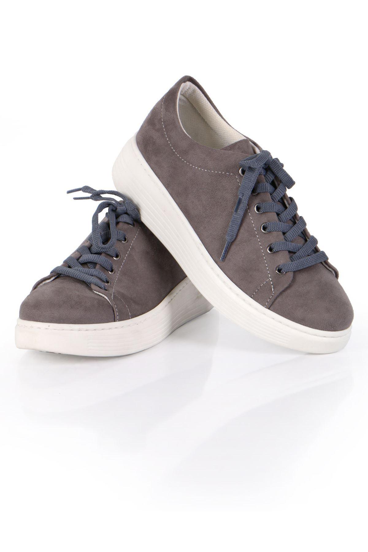 Gri Süet Bağcıklı Spor Sneaker Ayakkabı