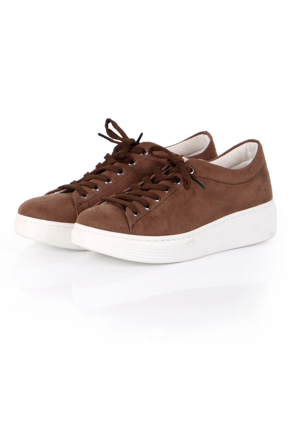 Kahverengi Süet Bağcıklı Spor Sneaker Ayakkabı