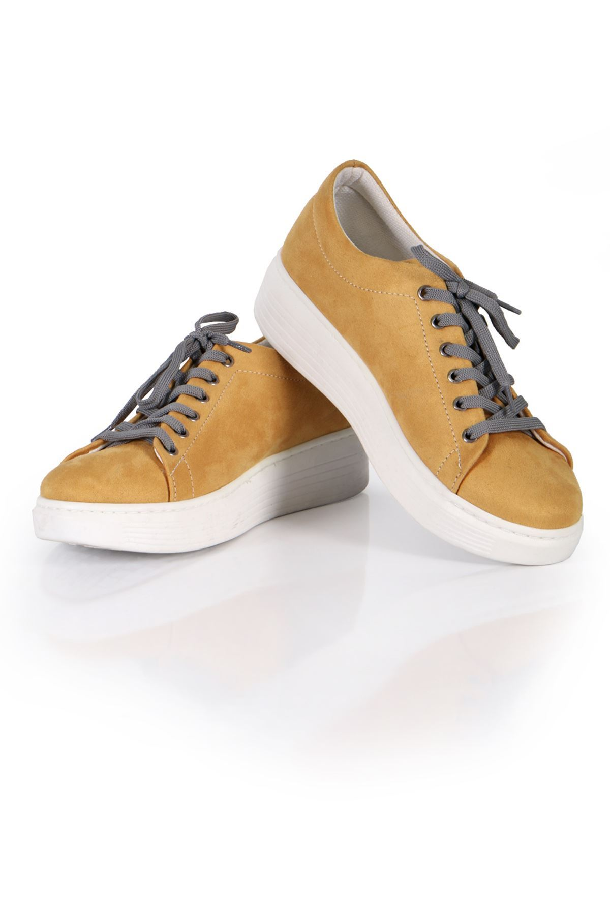 Hardal Süet Bağcıklı Spor Sneaker Ayakkabı