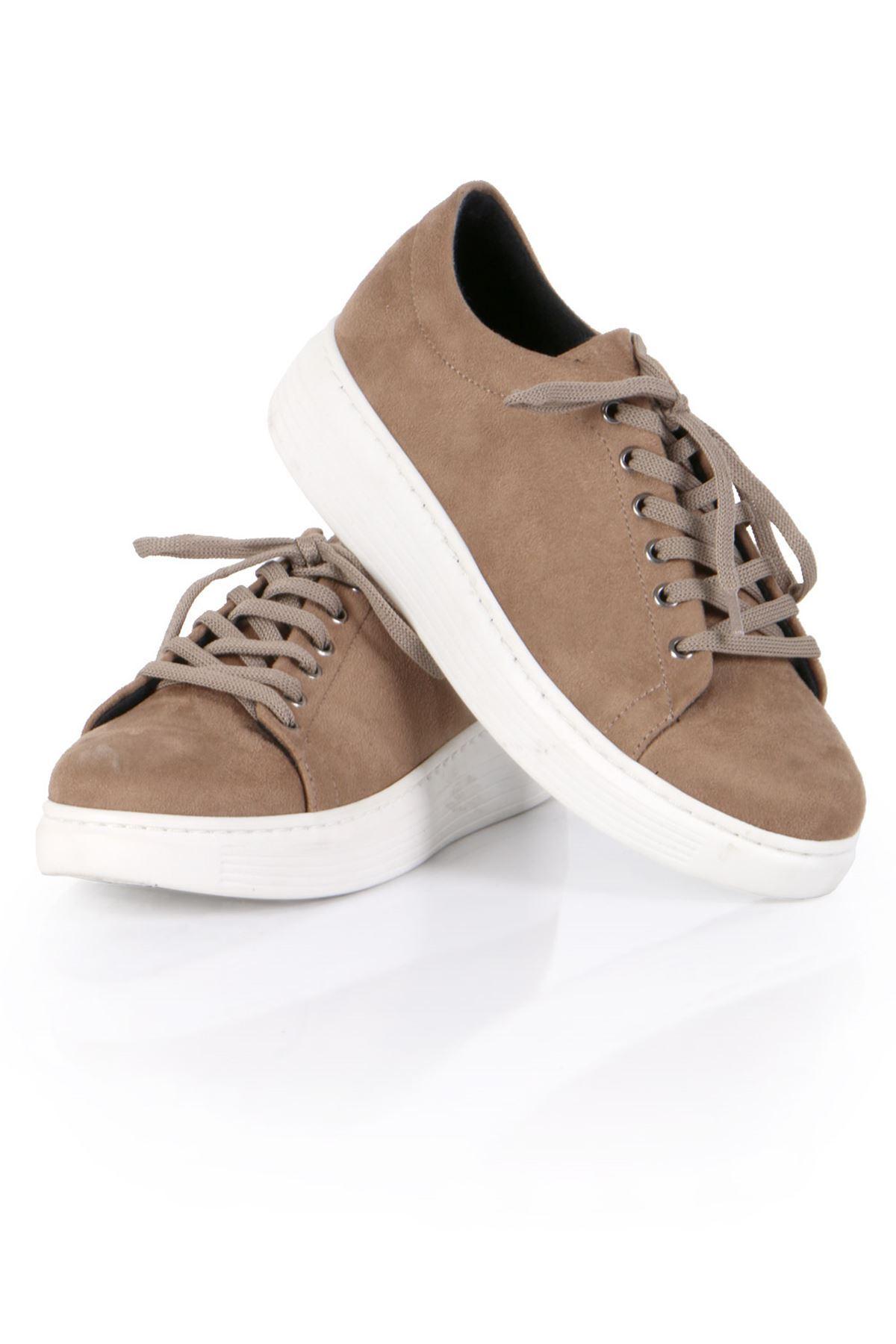 Vizon Süet Bağcıklı Spor Sneaker Ayakkabı