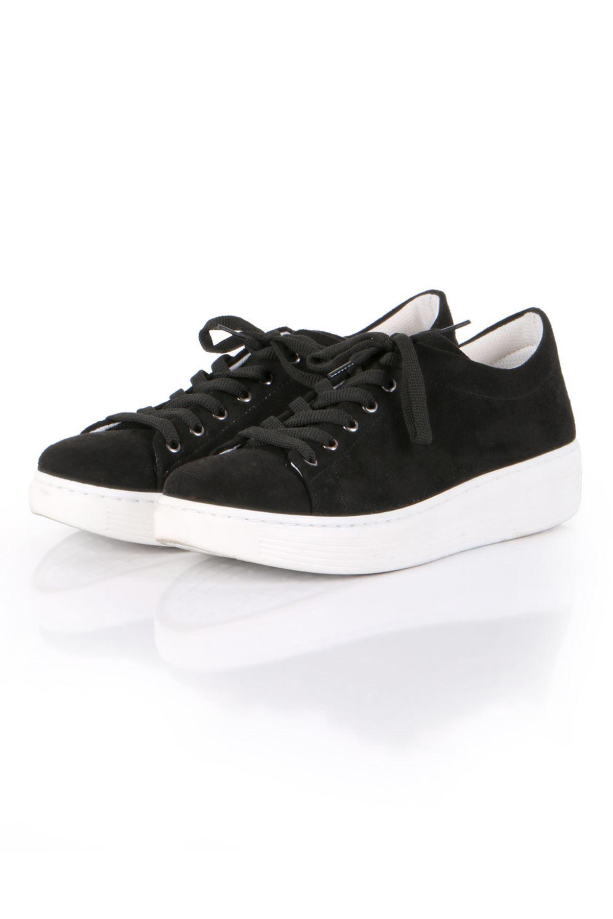 Siyah Süet Bağcıklı Spor Sneaker Ayakkabı