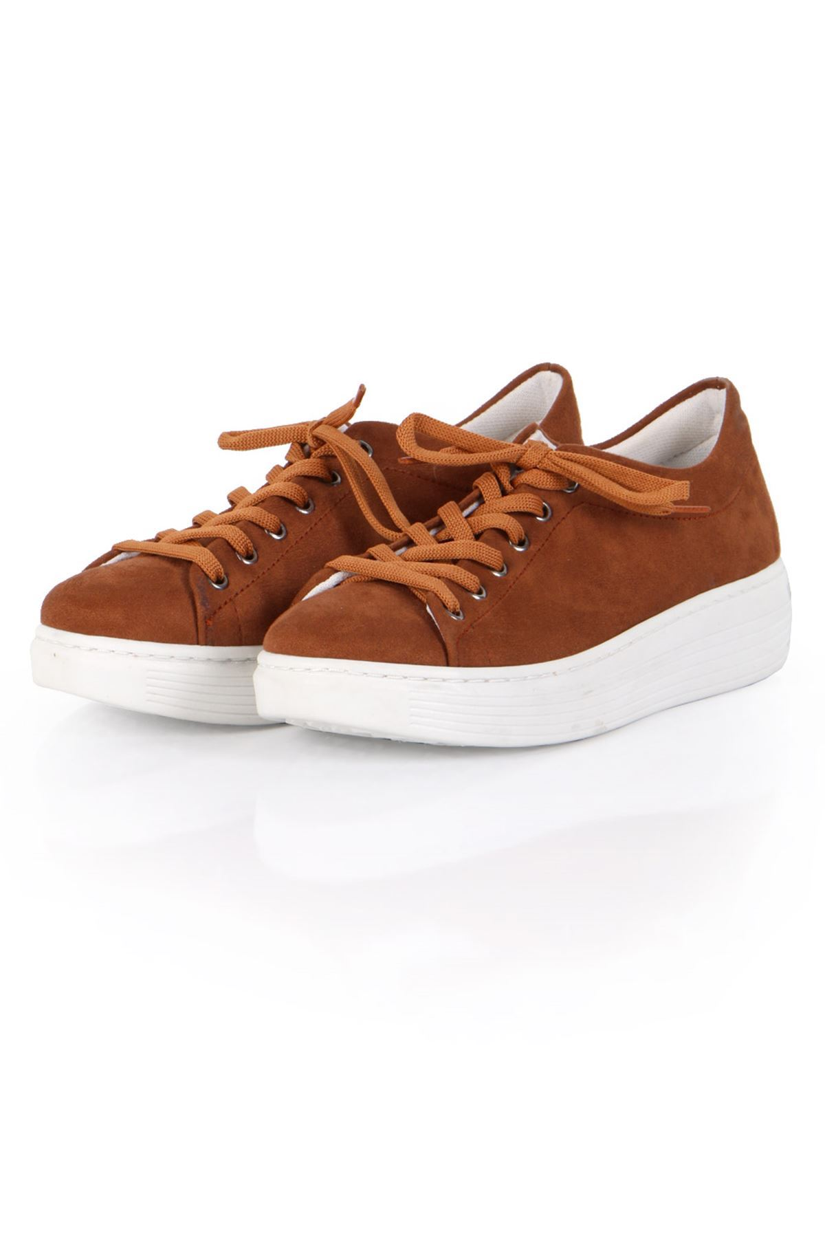 Taba Süet Bağcıklı Spor Sneaker Ayakkabı