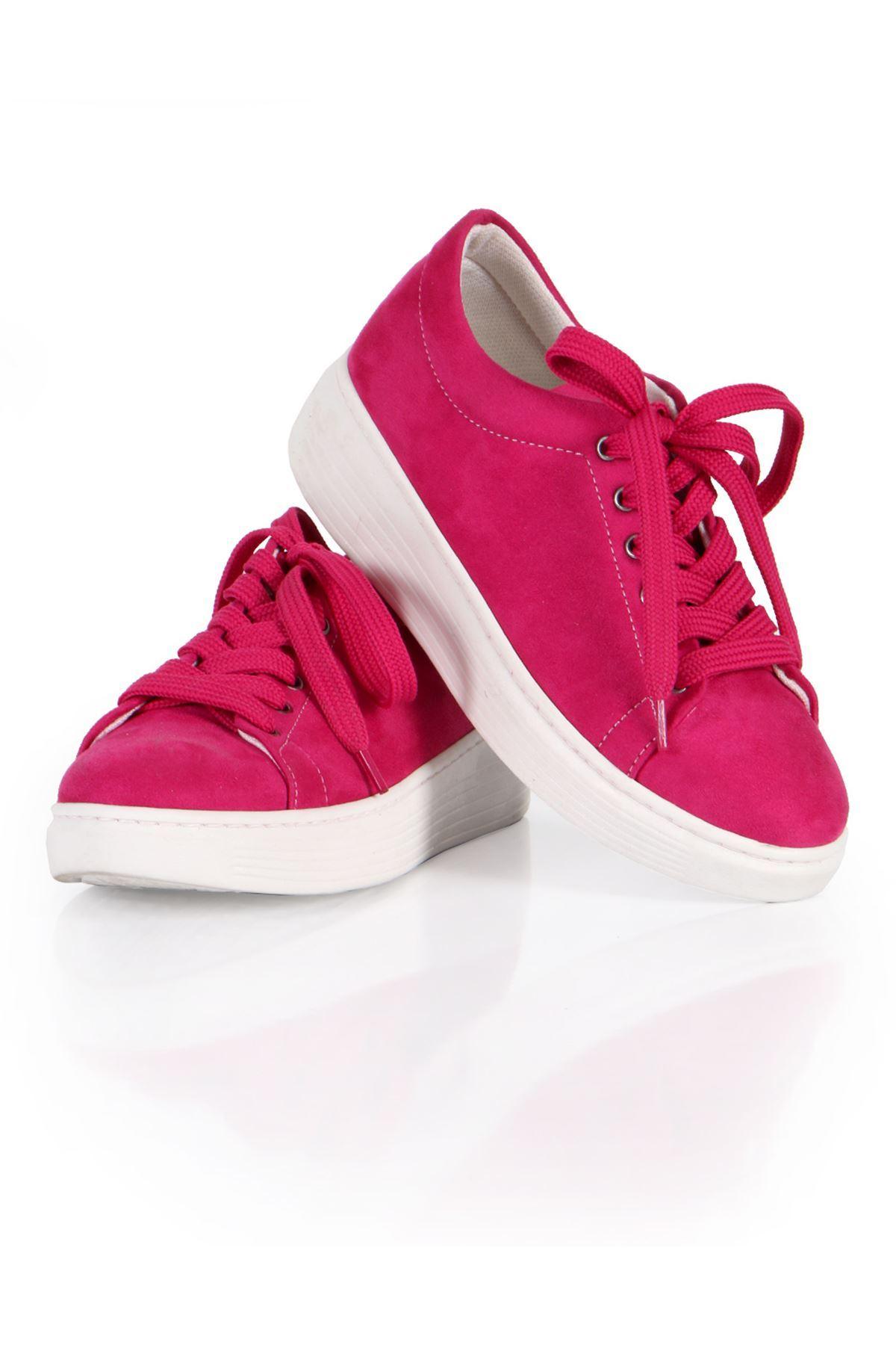 Pembe Süet Bağcıklı Spor Sneaker Ayakkabı
