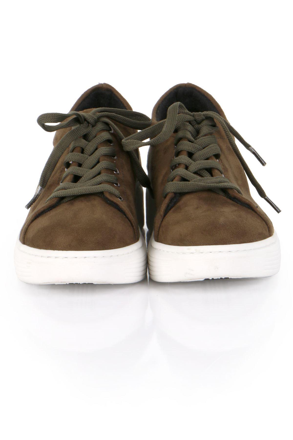 Haki Süet Bağcıklı Spor Sneaker Ayakkabı