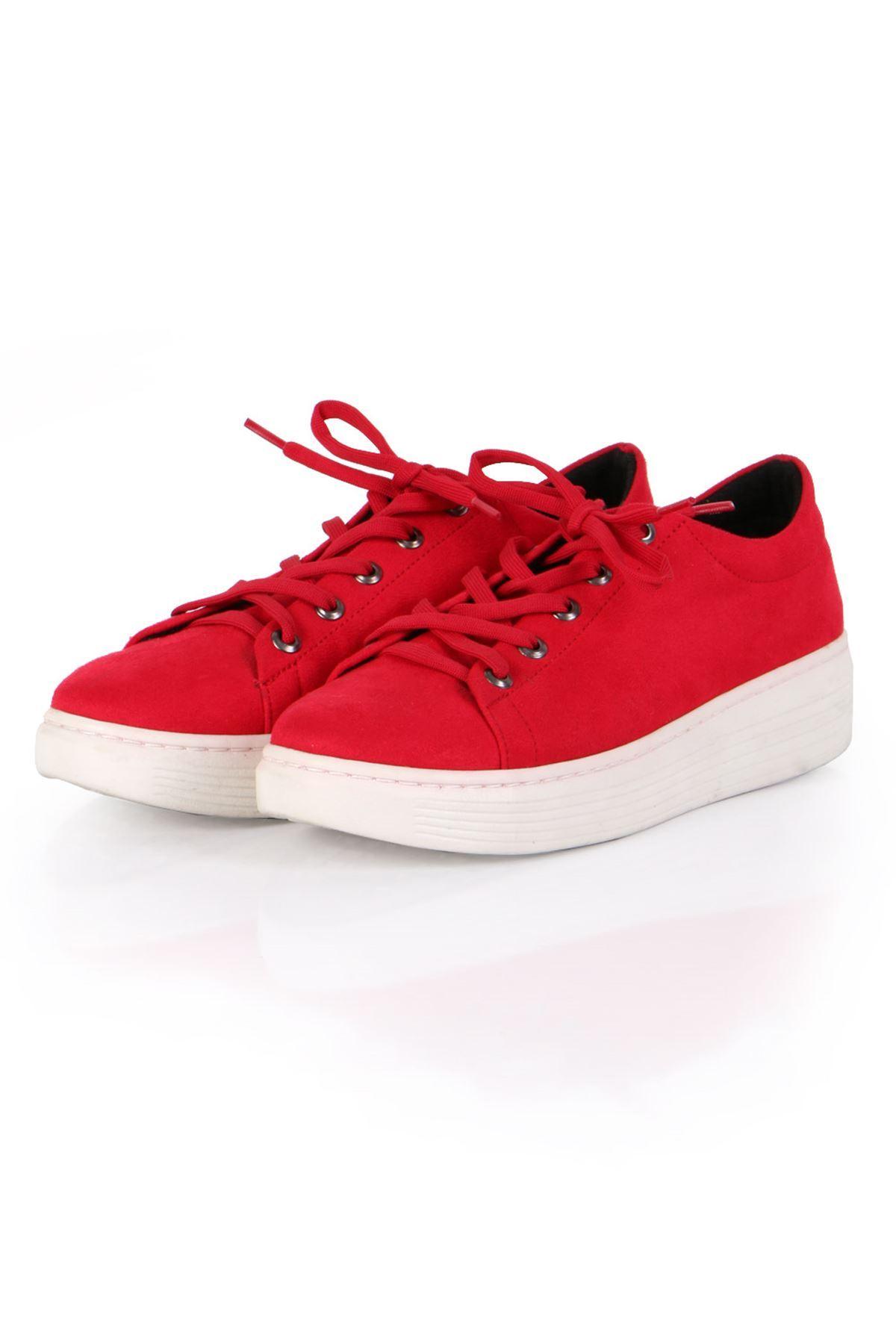 Kırmızı Süet Bağcıklı Spor Sneaker Ayakkabı