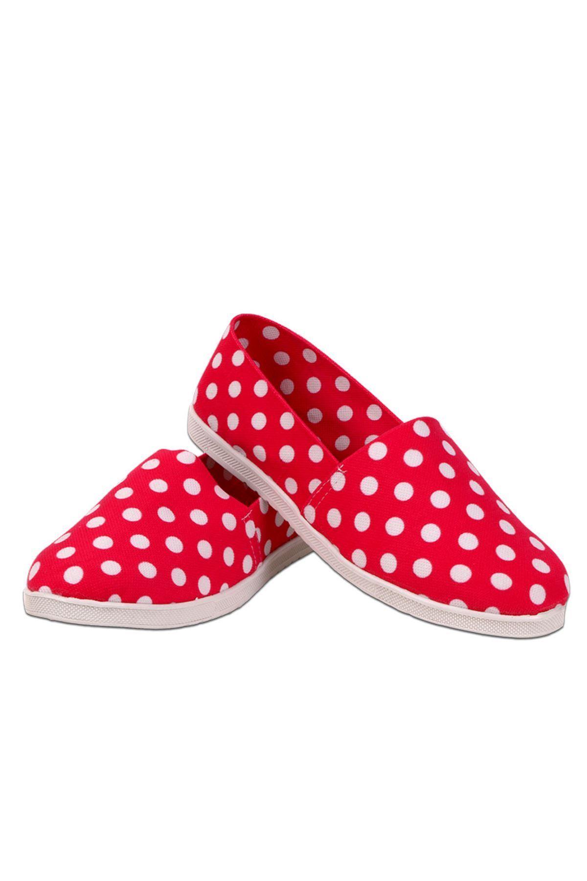 Beyaz Puantiyeli Espadril Fuşya Ayakkabı
