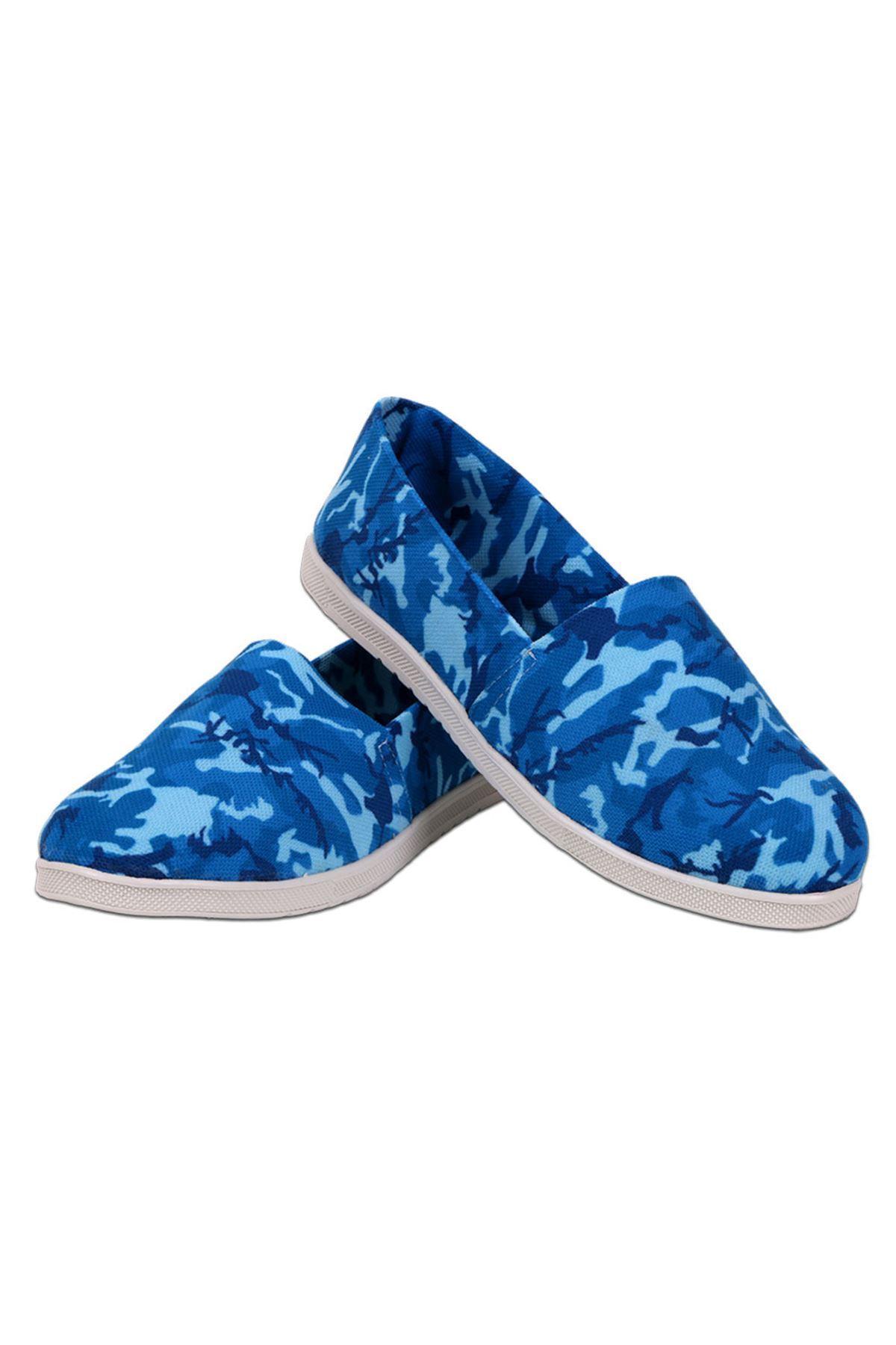 Mavi Kamuflaj Desenli Espadril Ayakkabı