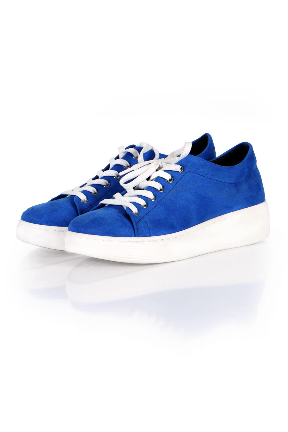 Lacivert/Beyaz Süet Bağcıklı Spor Sneaker Ayakkabı