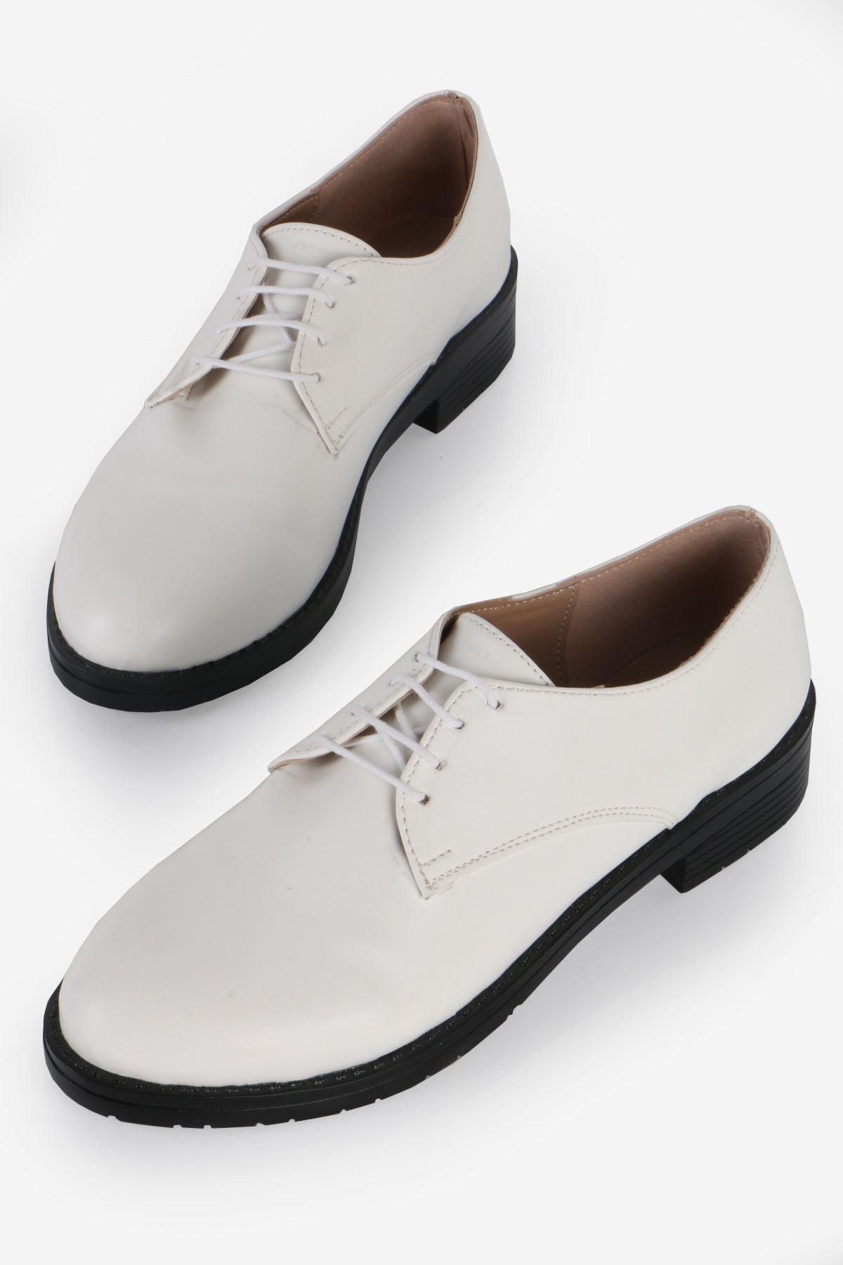 Beyaz Deri Bağcıklı Oxford Ayakkabı
