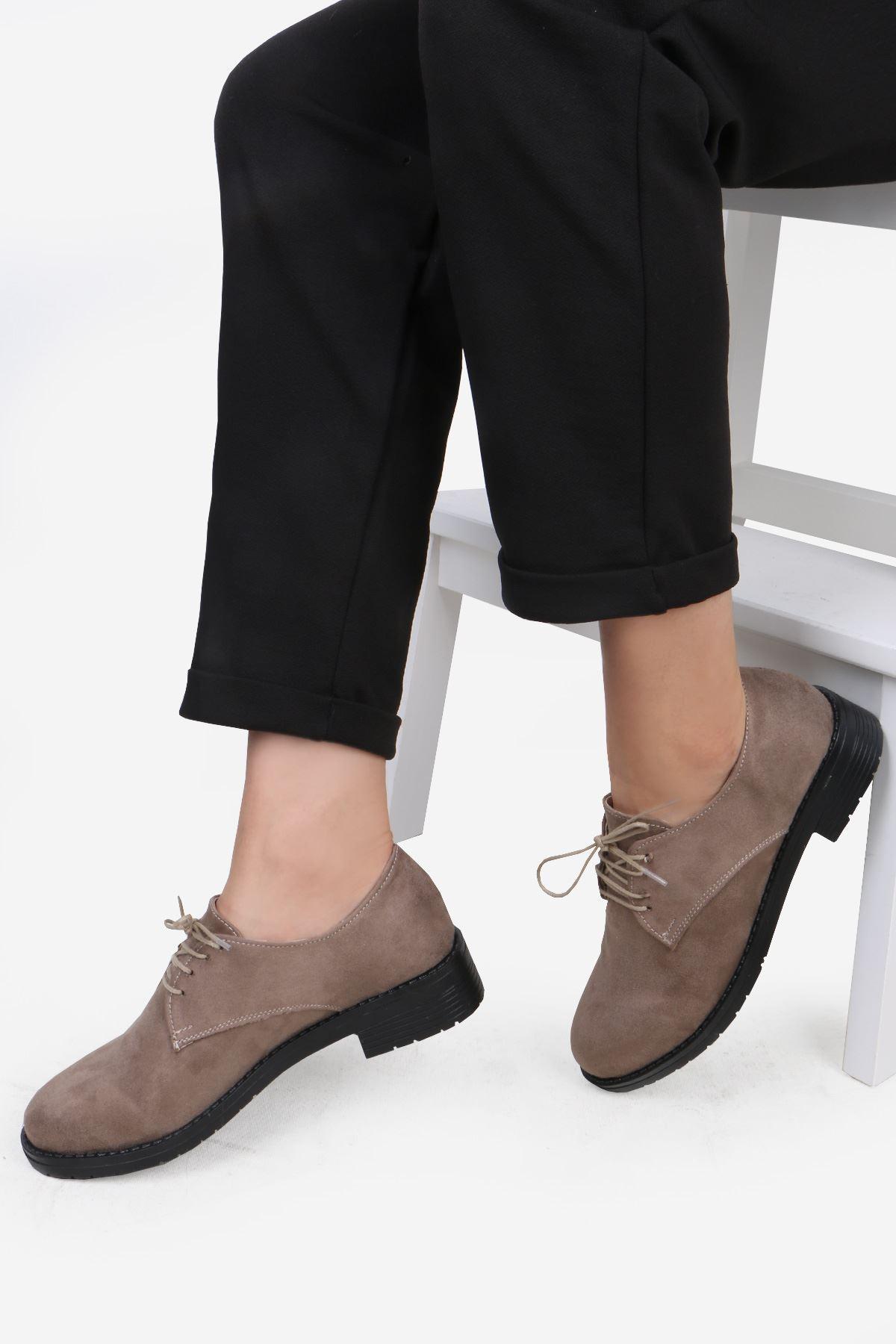 Vizon Süet Bağcıklı Oxford Ayakkabı