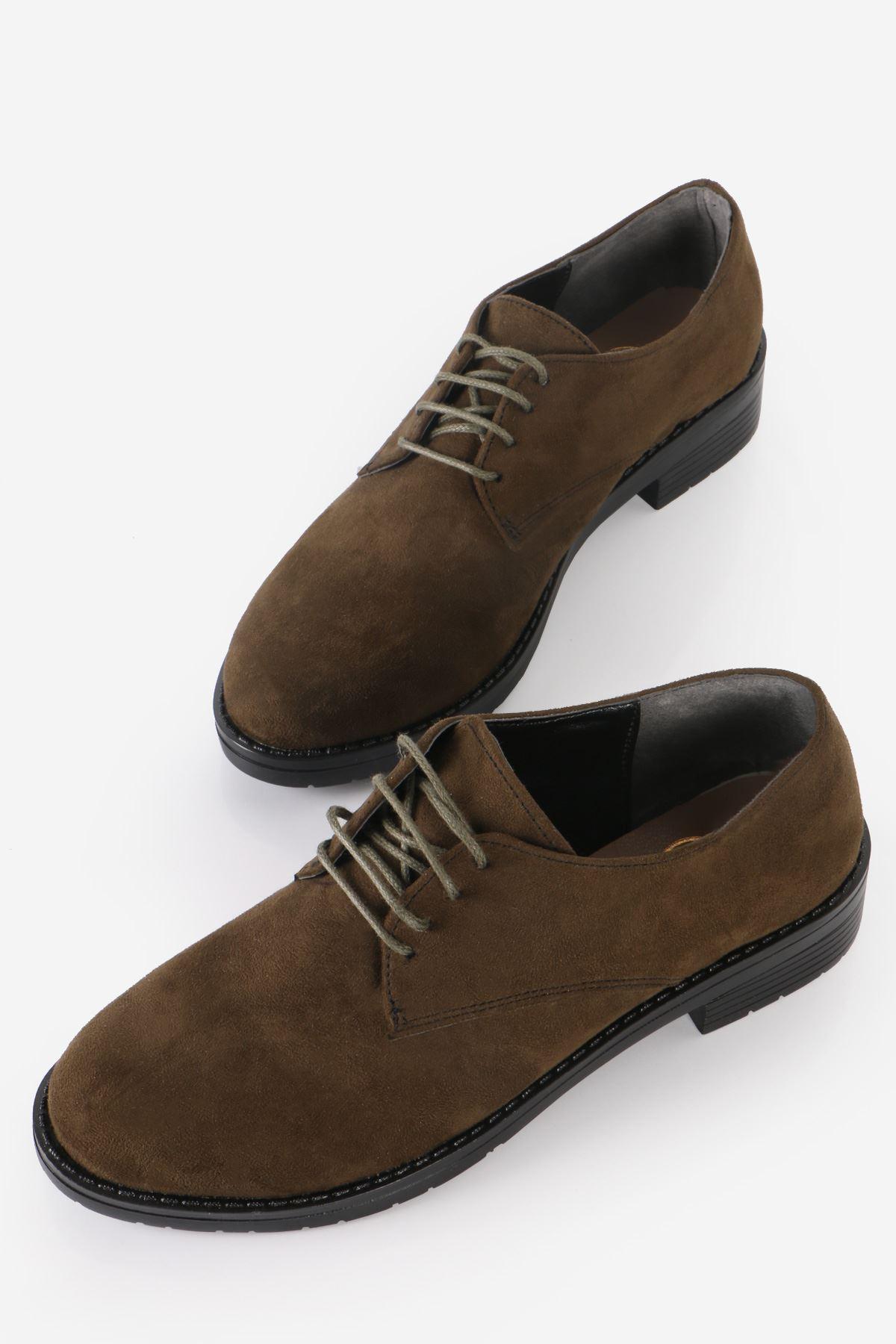 Haki Süet Bağcıklı Oxford Ayakkabı