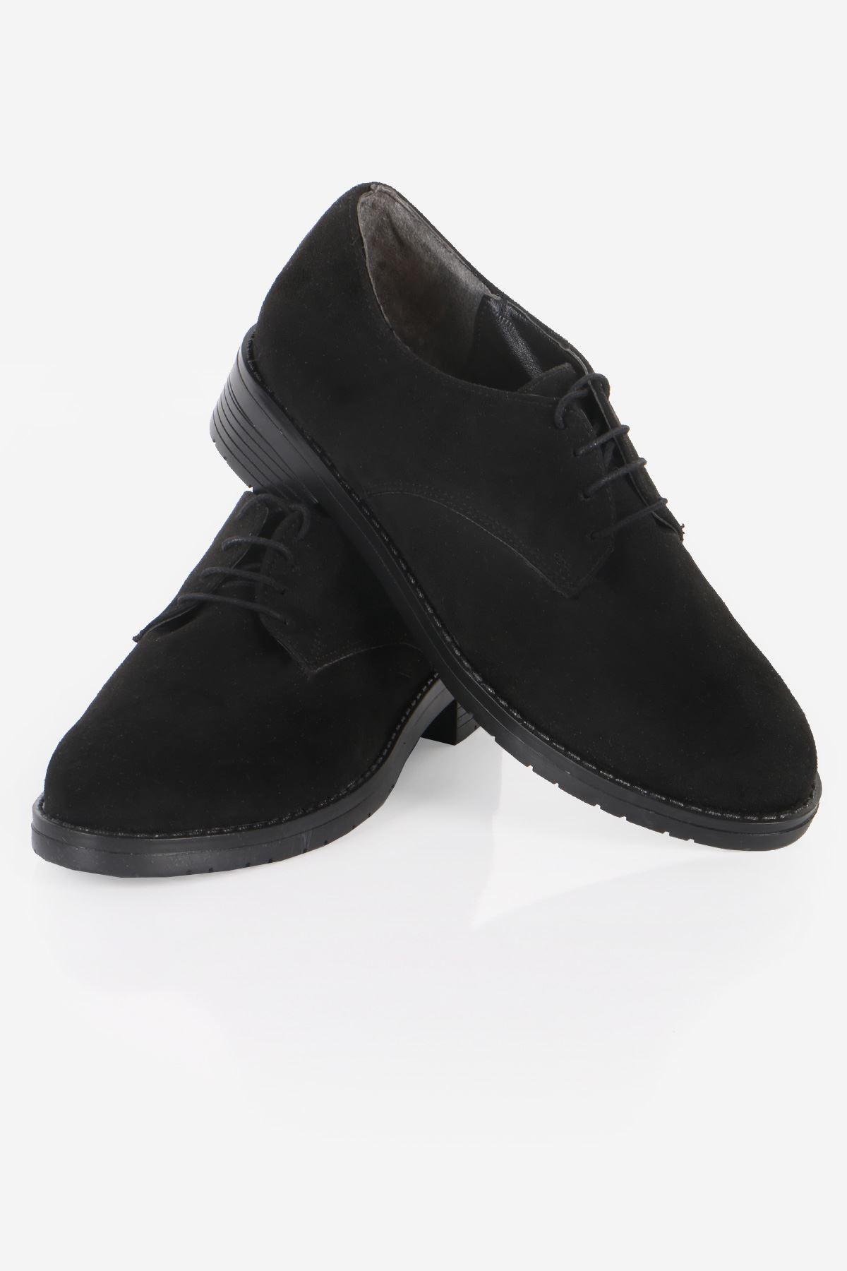 Siyah Süet Bağcıklı Oxford Ayakkabı