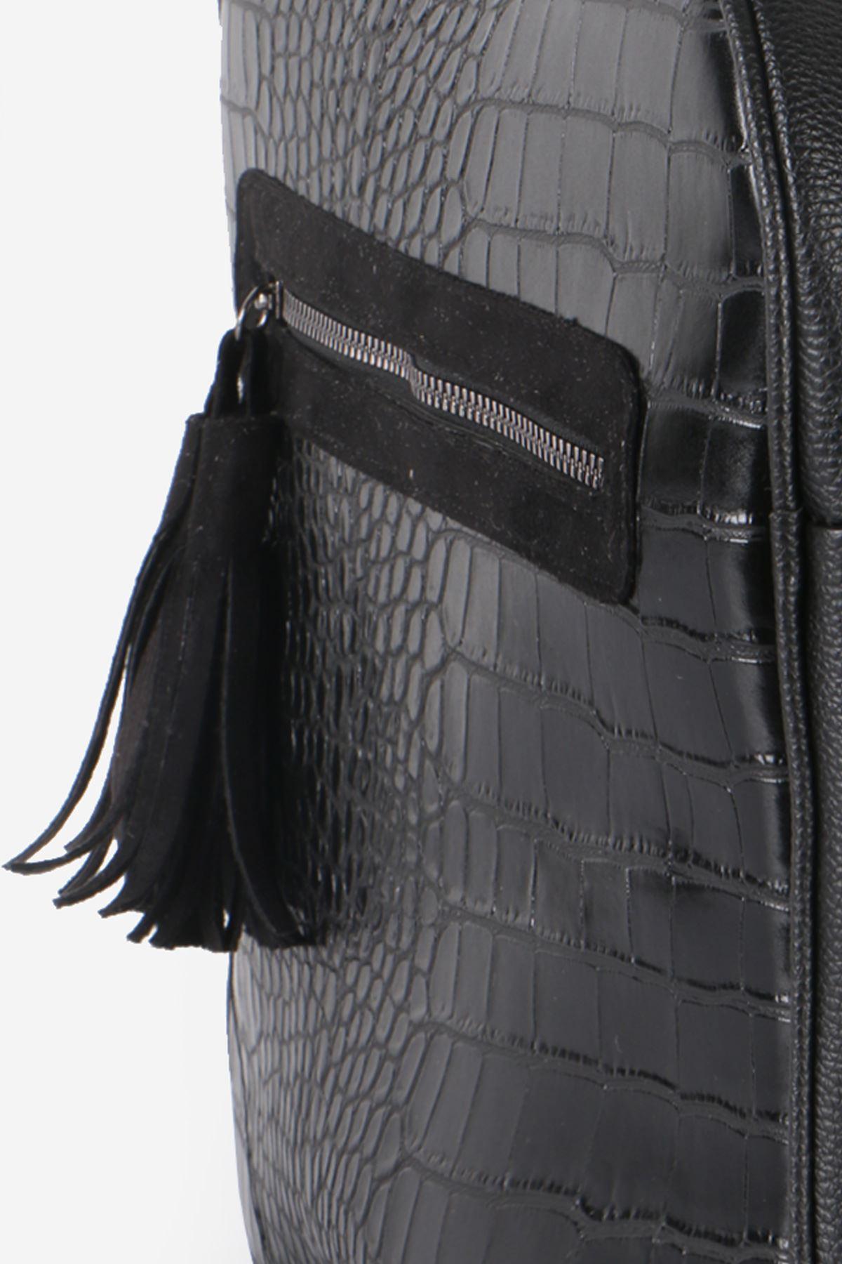 Siyah Kroko Püskül Fermuarlı Sırt Çantası