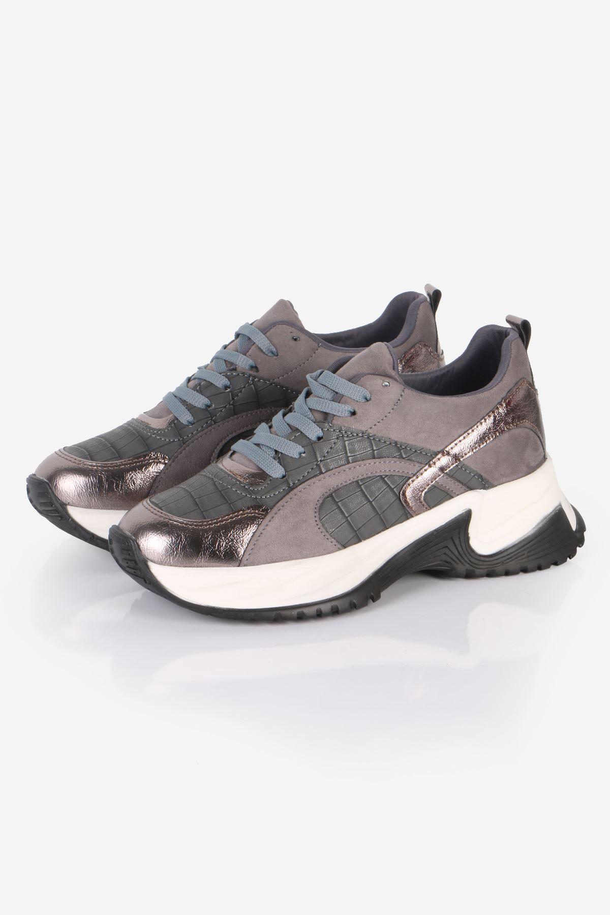 Gri Kroko Desen Sneaker Ayakkabı