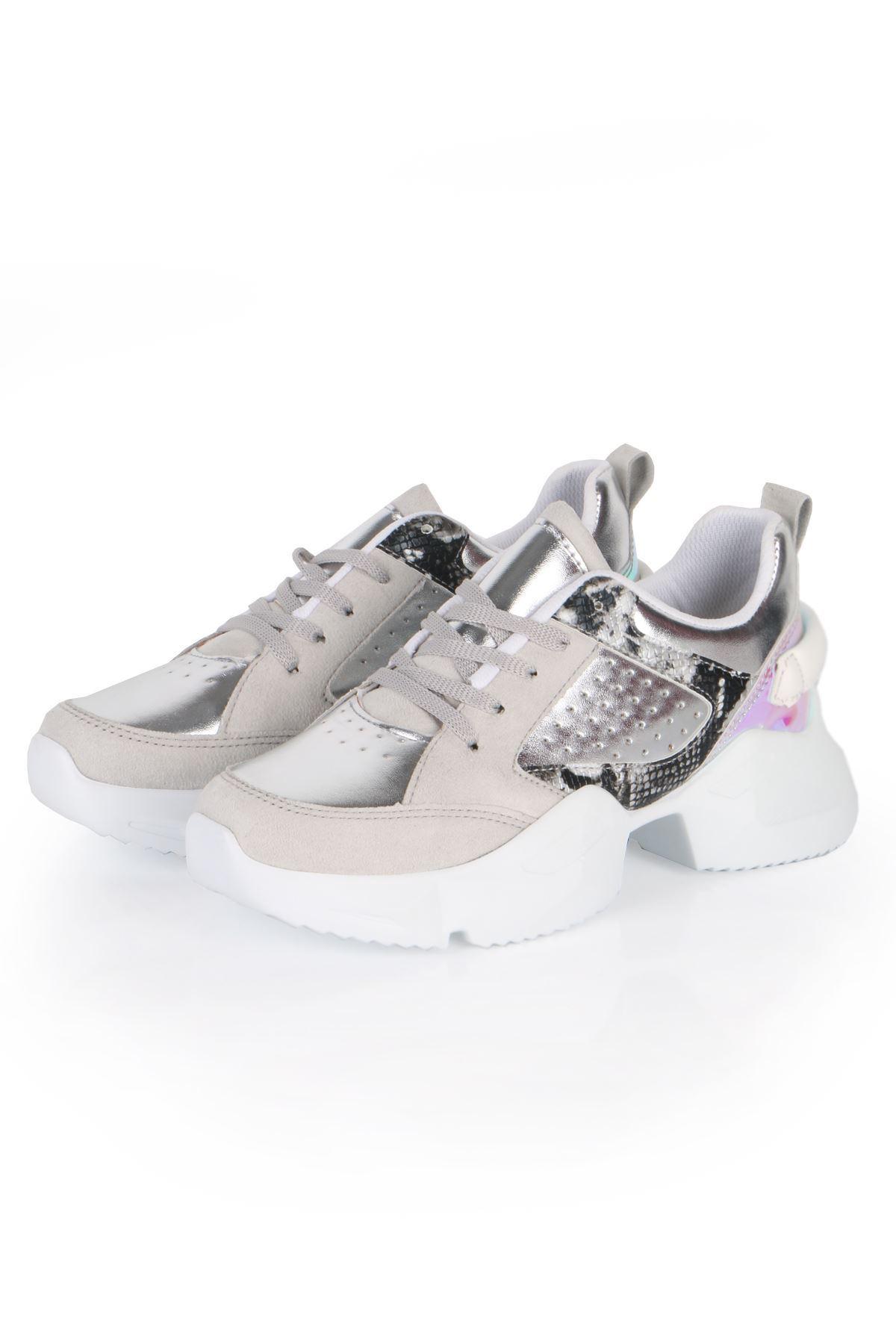 Gümüş Uzay Tabanlı Spor Sneaker