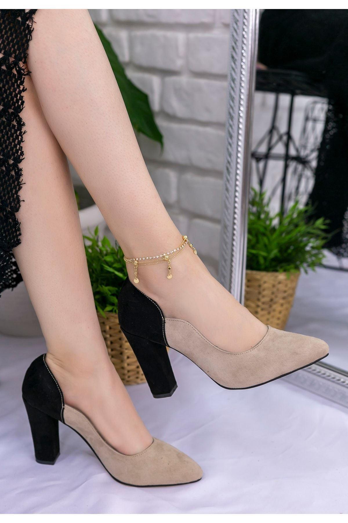 İlene Vizon Süet Siyah Topuklu Ayakkabı