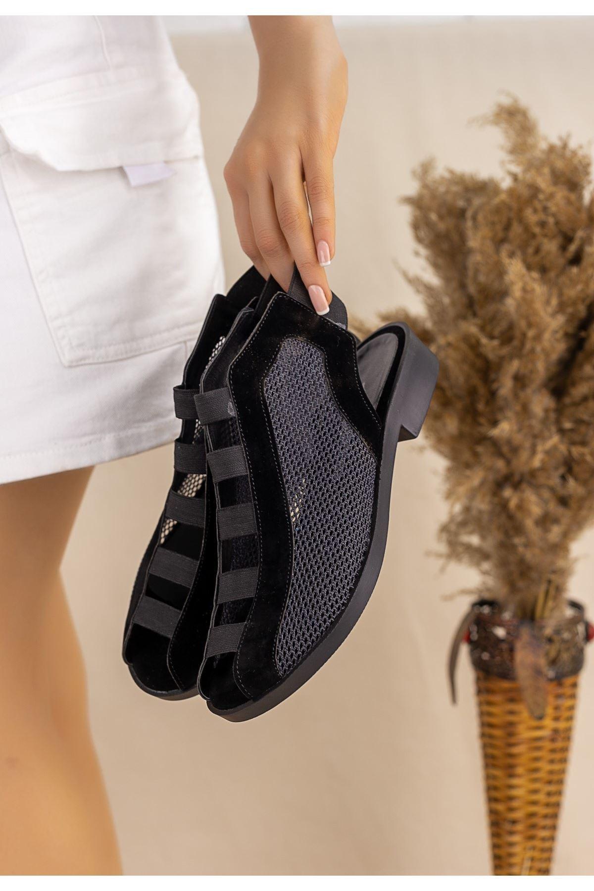 Filex Siyah Süet Sandalet