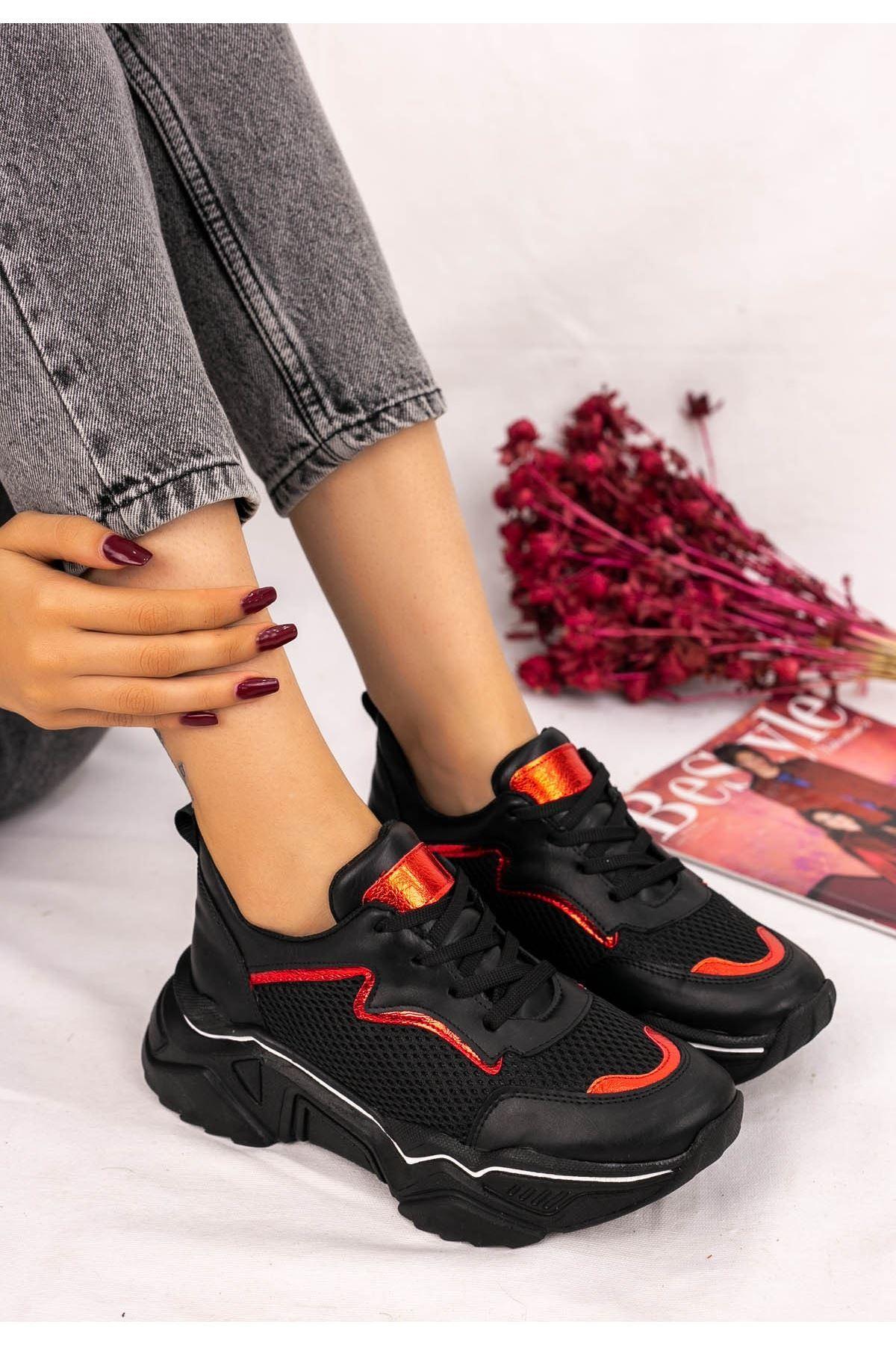 Vira  Siyah Cilt Kırmızı Beyaz Şeritli Fileli Spor Ayakkabı