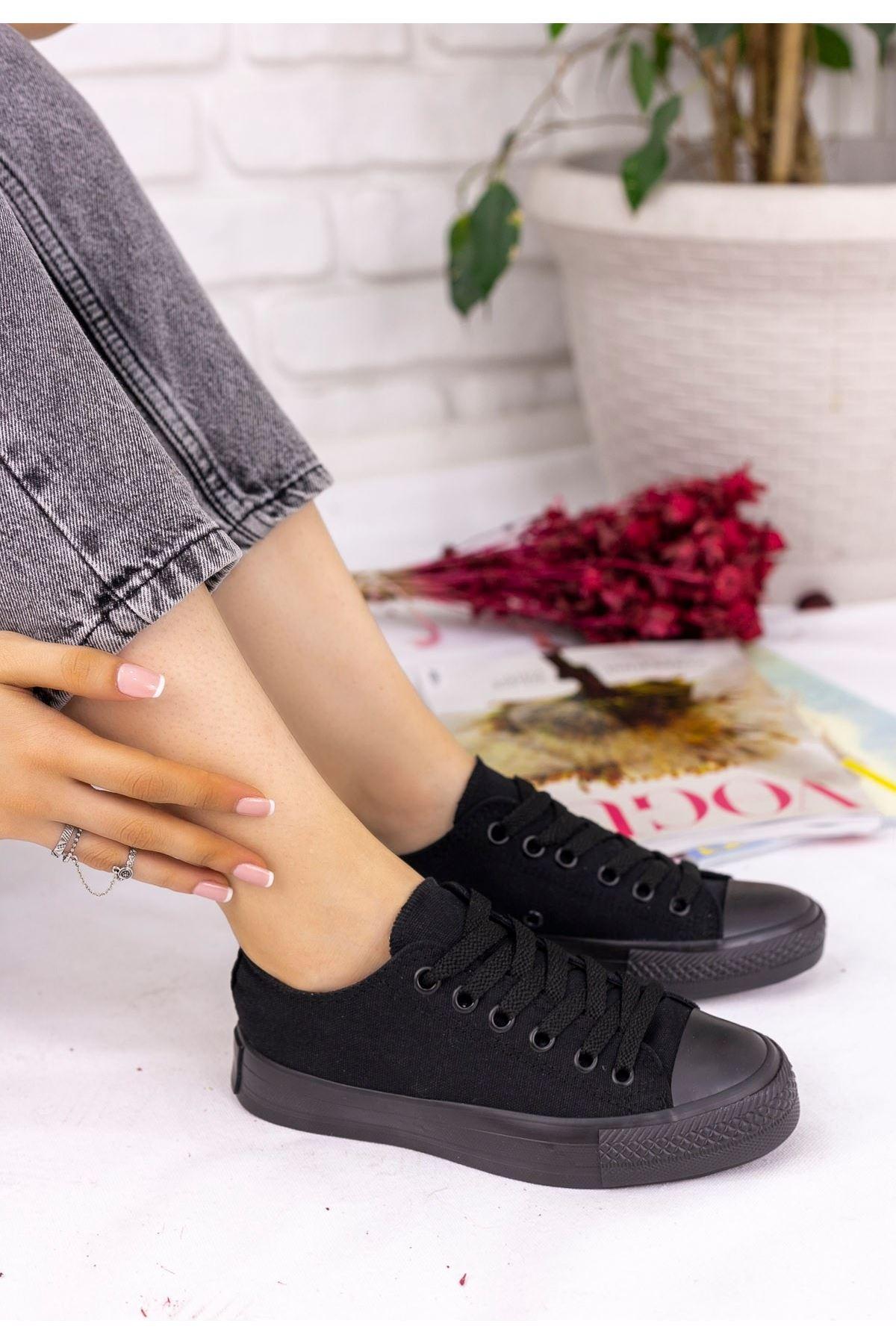 Moxi Siyah Keten Siyah Tabanlı Spor Ayakkabı