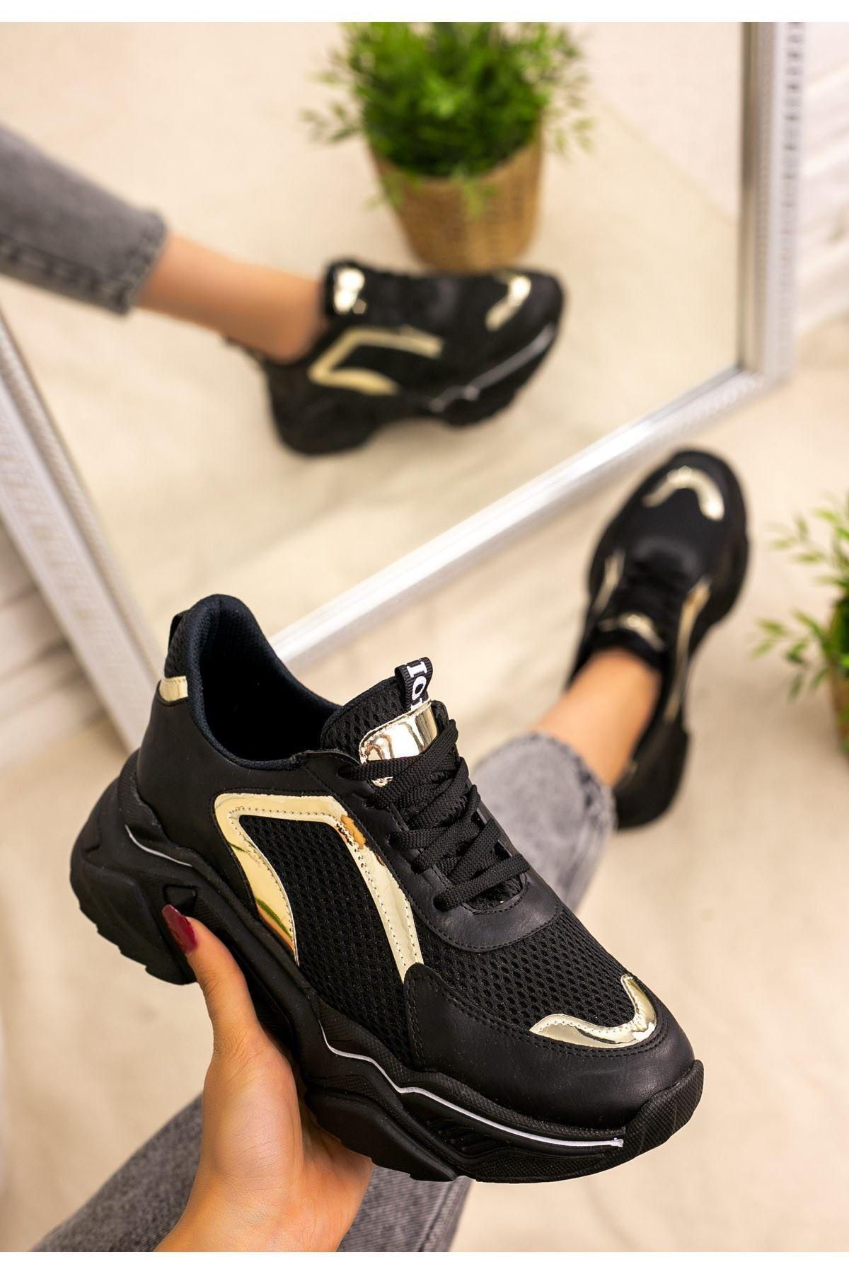 Vira  Siyah Cilt Yaldızlı  Spor Ayakkabı