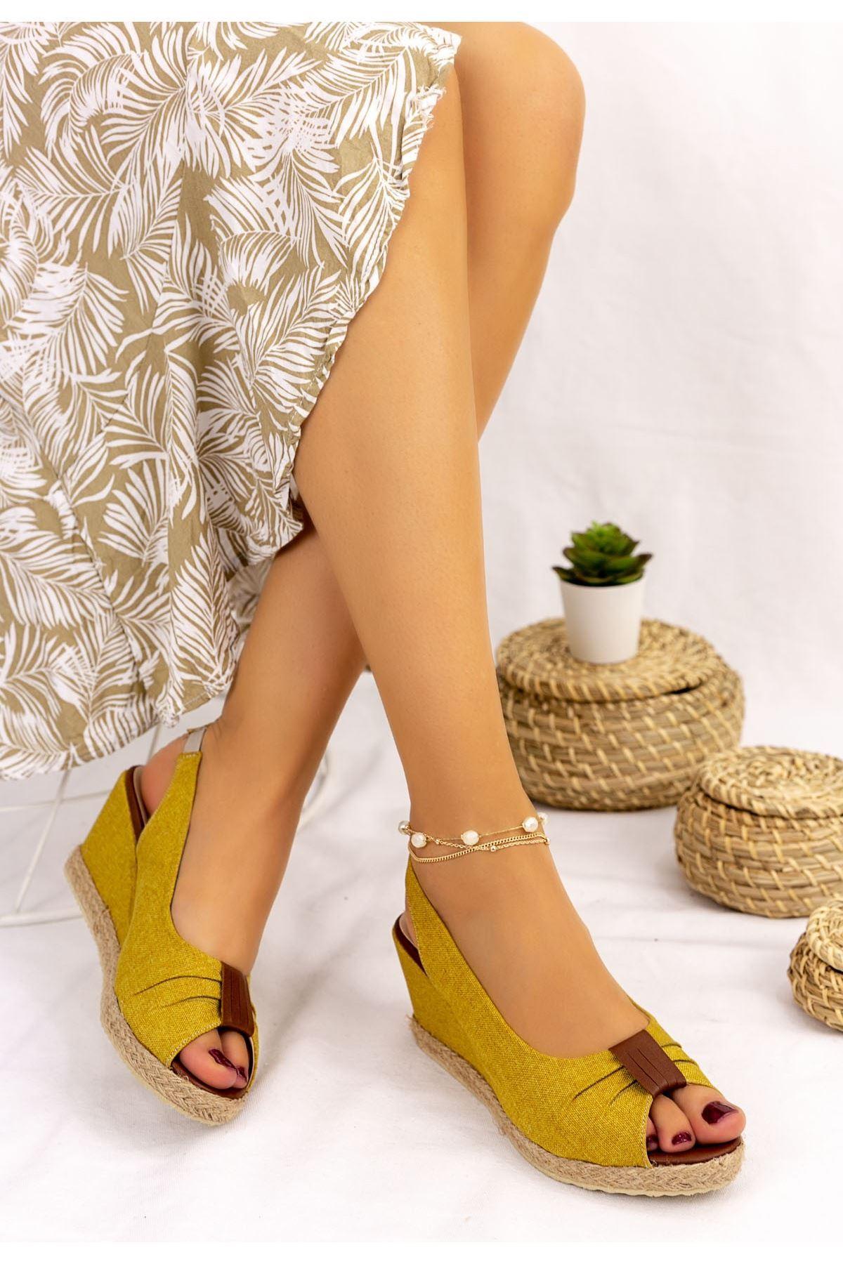 Tanye Hardal Keten Dolgu Topuk Sandalet