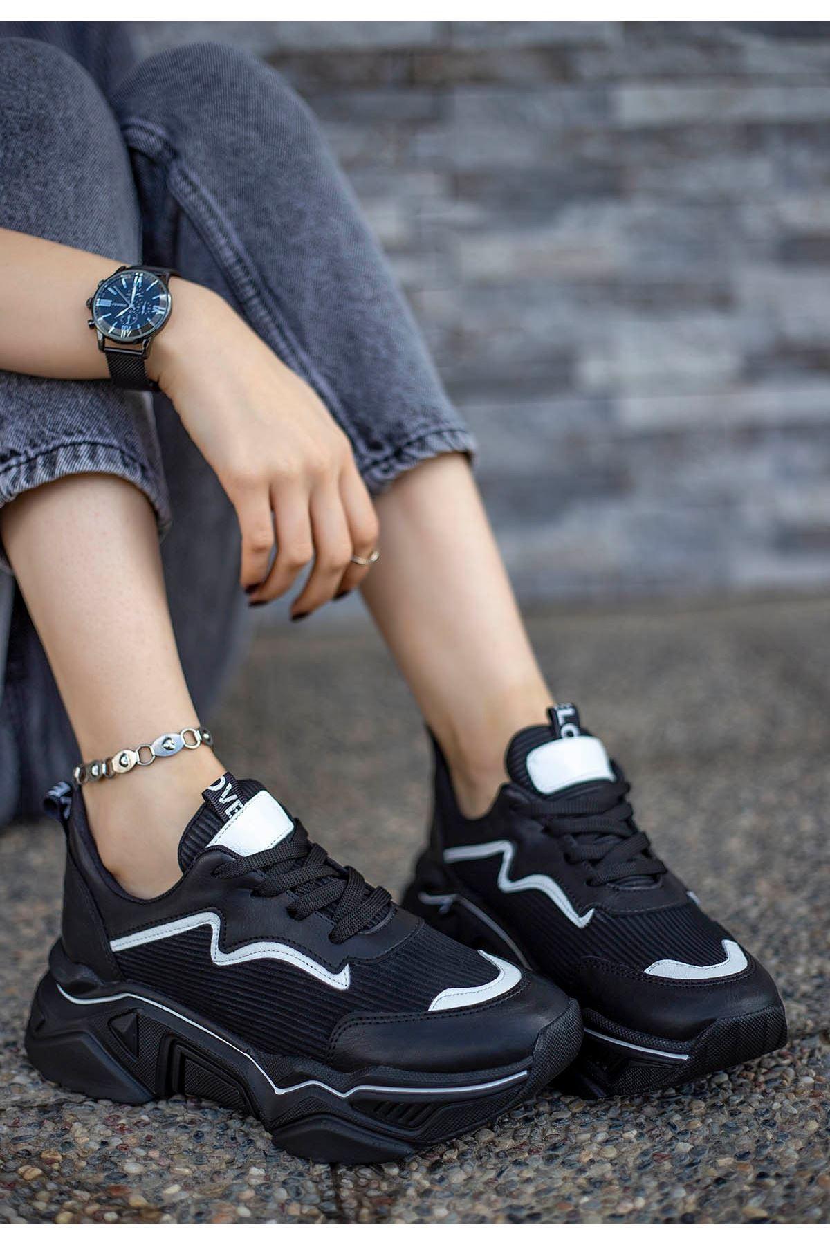 Vira Siyah Cilt Beyaz Rugan Şeritli Spor Ayakkabı