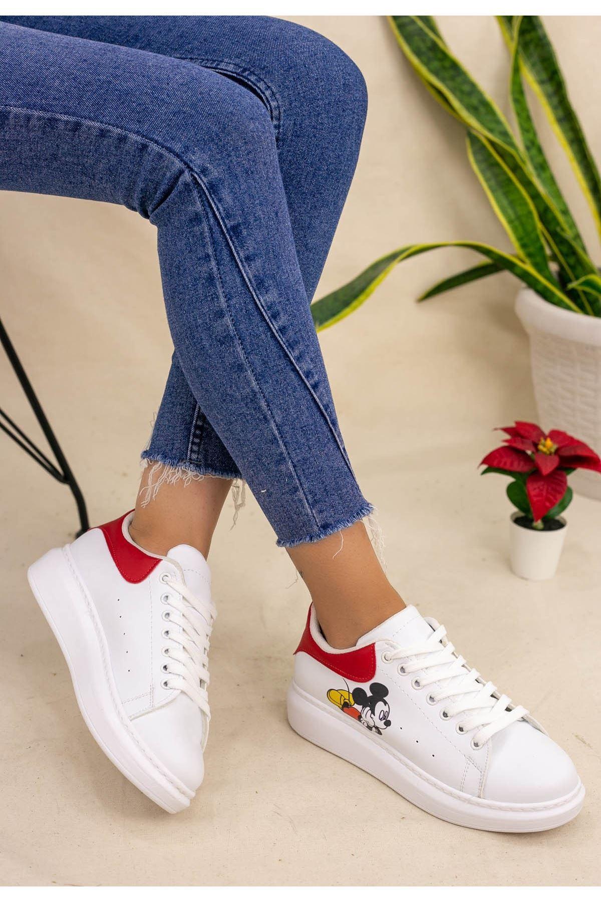 Neomixi Beyaz Mickey Mause Kırmızı  Detaylı Spor Ayakkabı