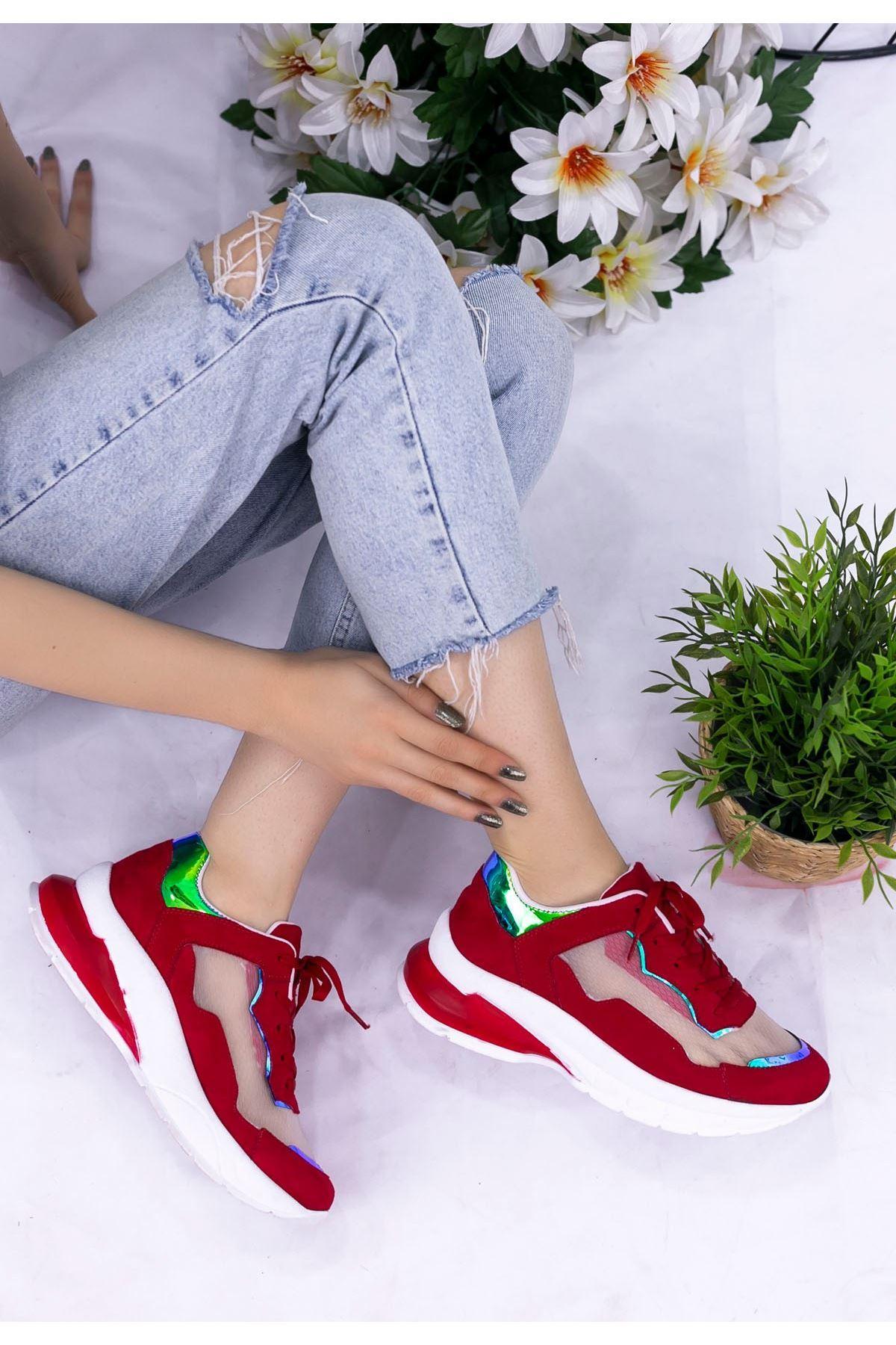 Ronda Kırmızı Süet Holagram Spor Ayakkabı