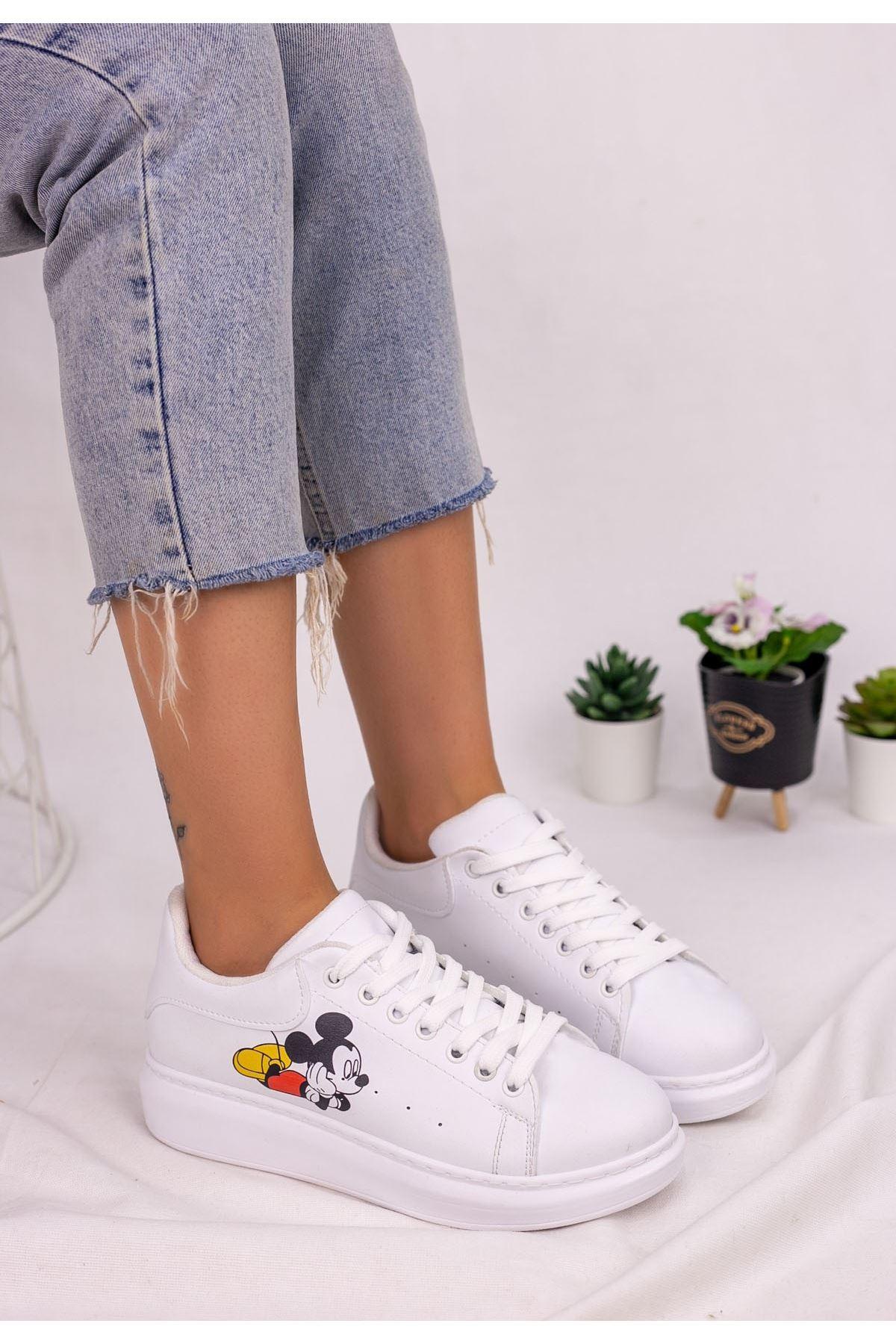 Neomixi Beyaz Mickey Mause  Beyaz Detaylı Spor Ayakkabı