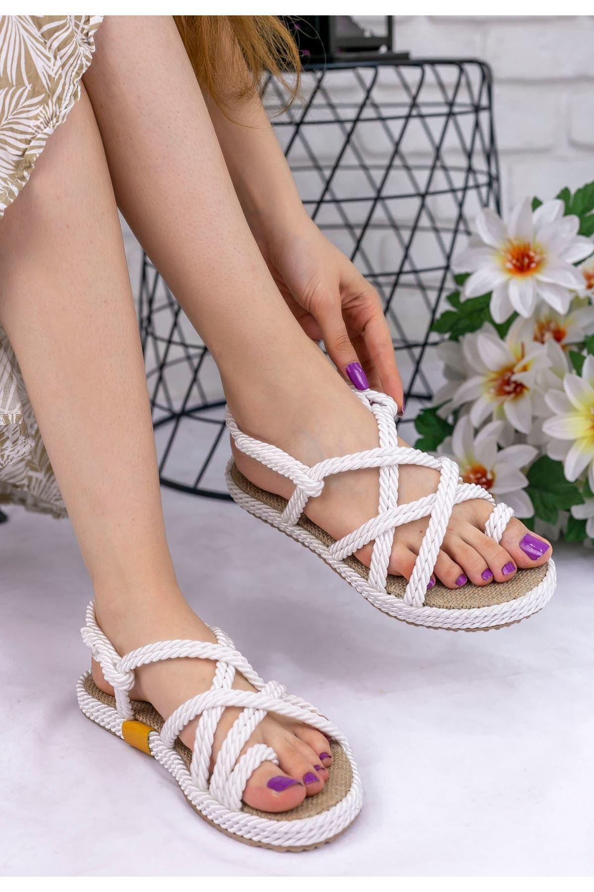Nyla Beyaz Halatlı Sandalet