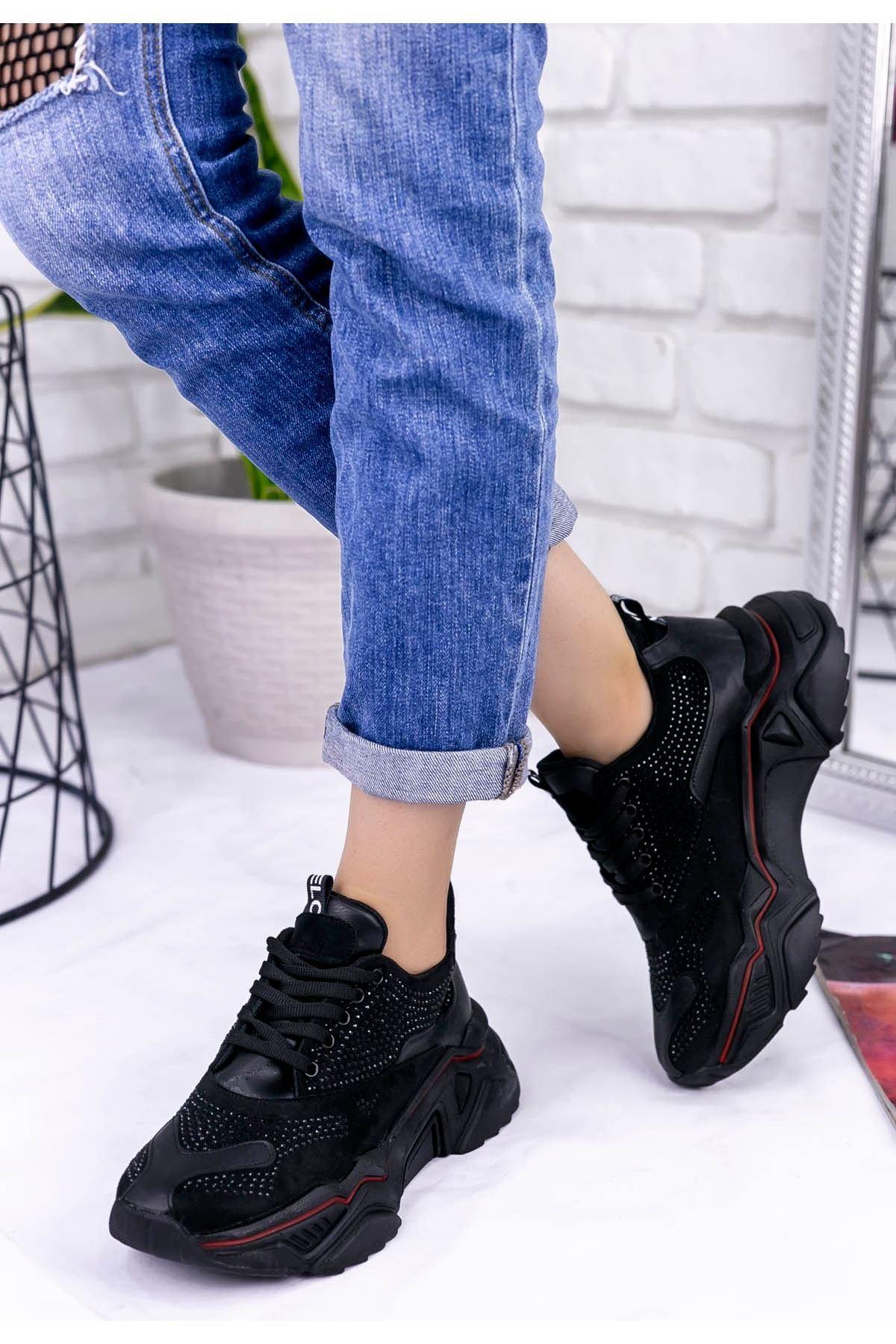 Vira  Siyah Süet Boncuk İşlemeli Spor Ayakkabı