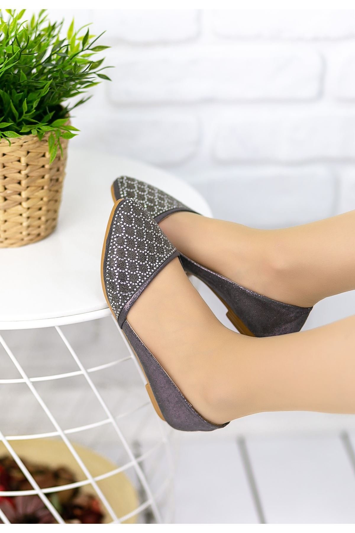 Mariella Platin Cilt Babet Ayakkabı