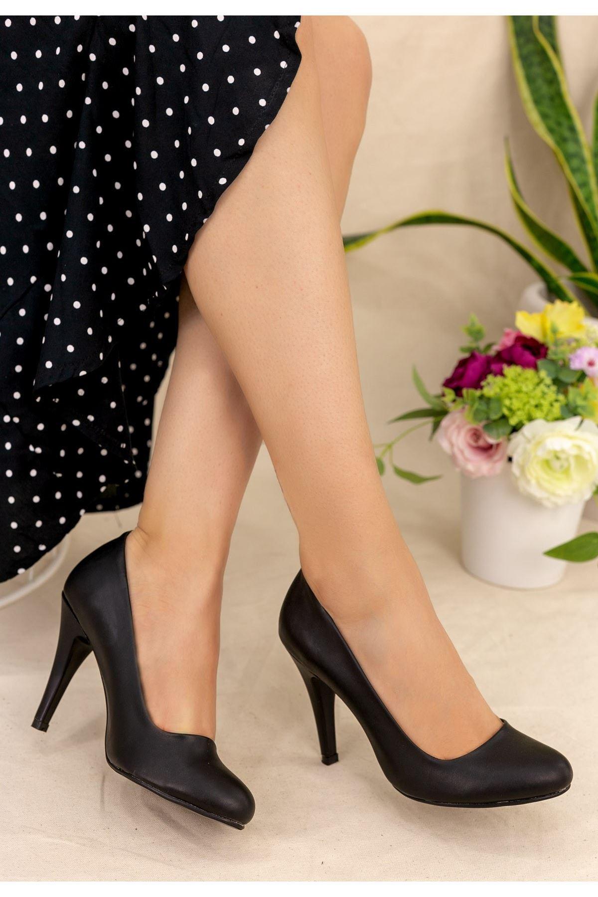 Parik Siyah Cilt Stiletto Ayakkabı