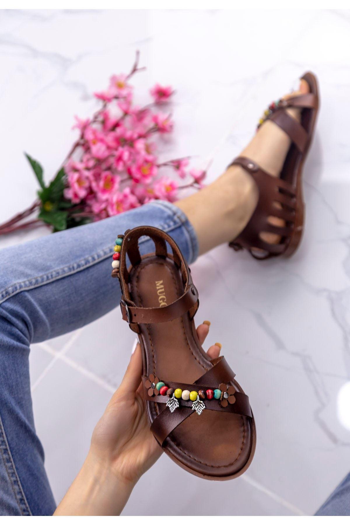 Angelia Taba Boncuklu Sandalet