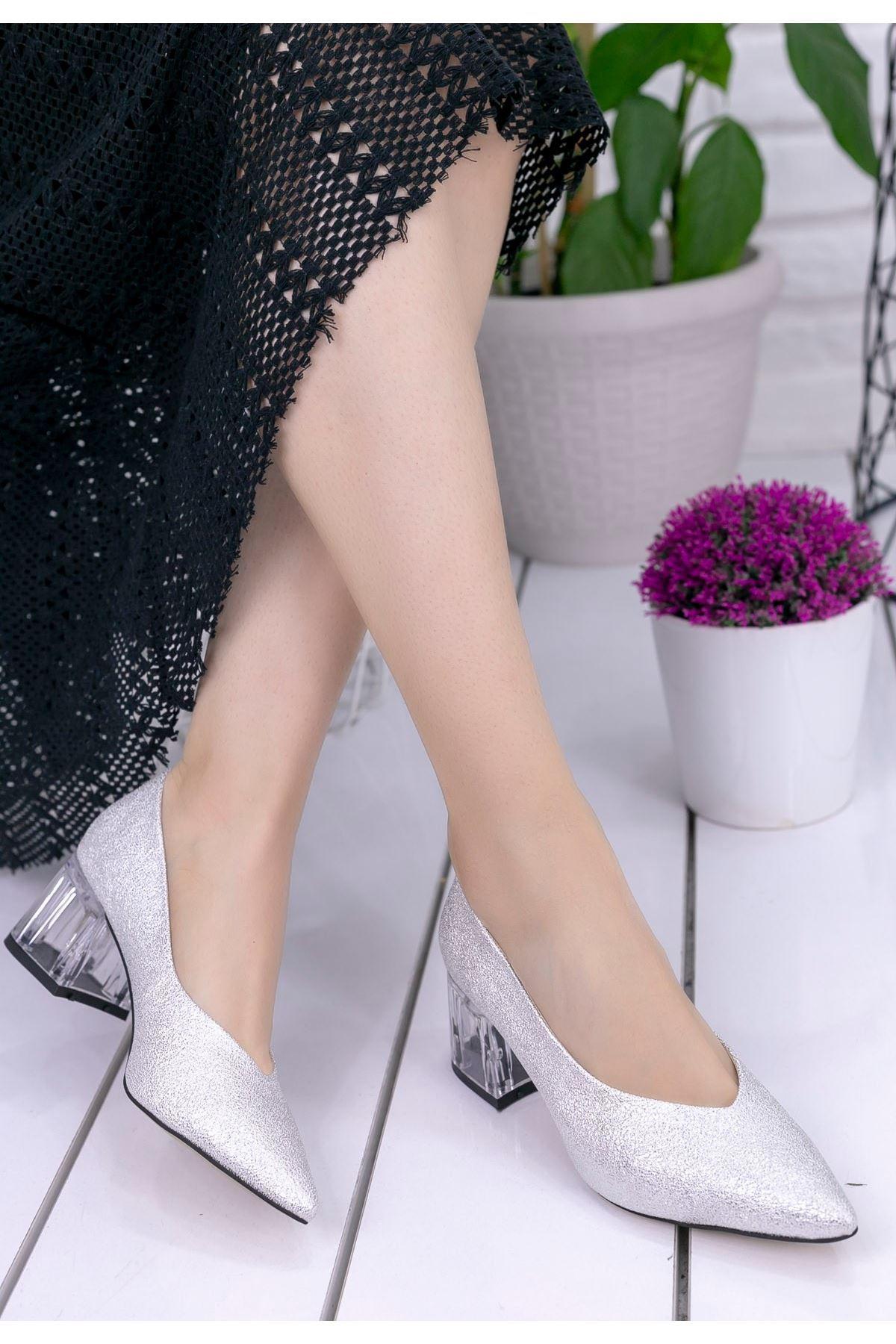 Mollory Gümüş Cilt Simli Topuklu Ayakkabı