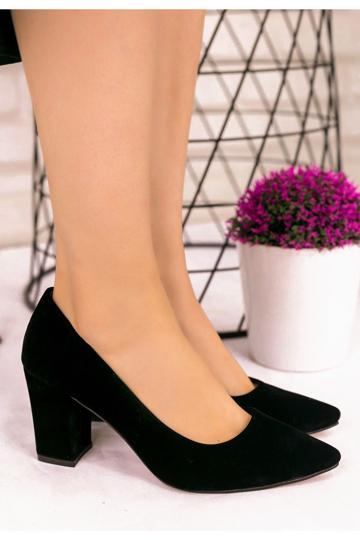 Danny Siyah Süet Topuklu Ayakkabı
