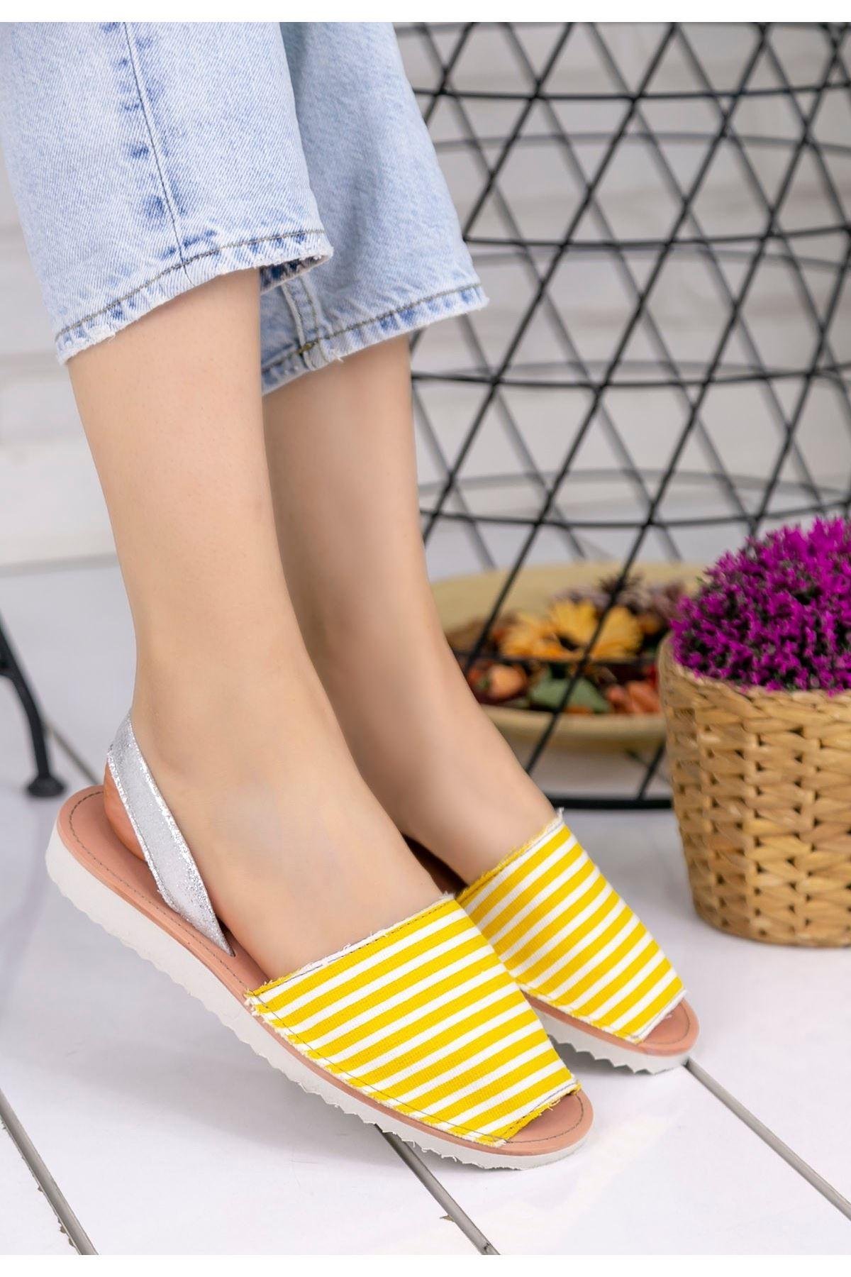 Samiye Sarı Beyaz Çizgili Sandalet
