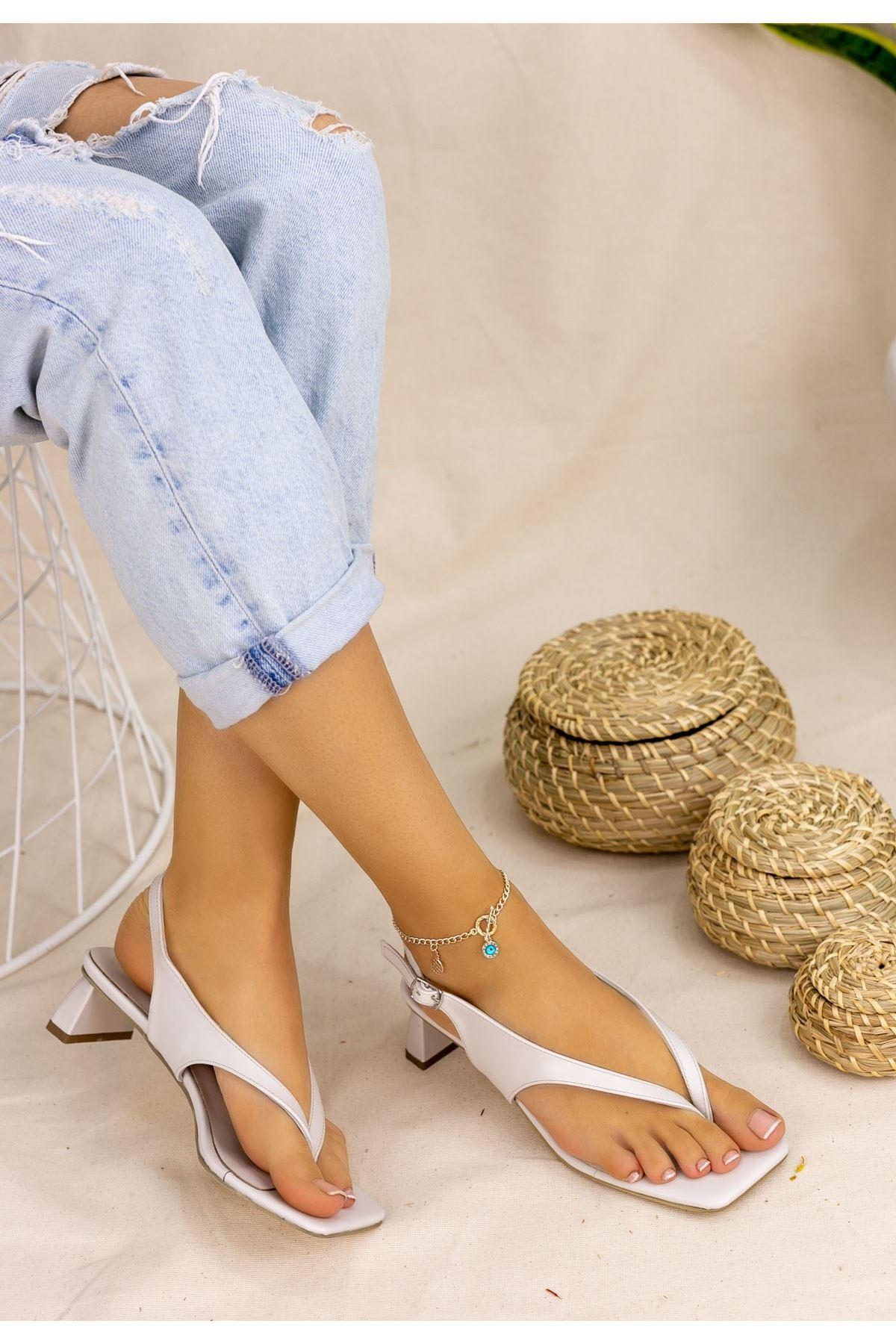 Savana Krem Cilt Topuklu Sandalet