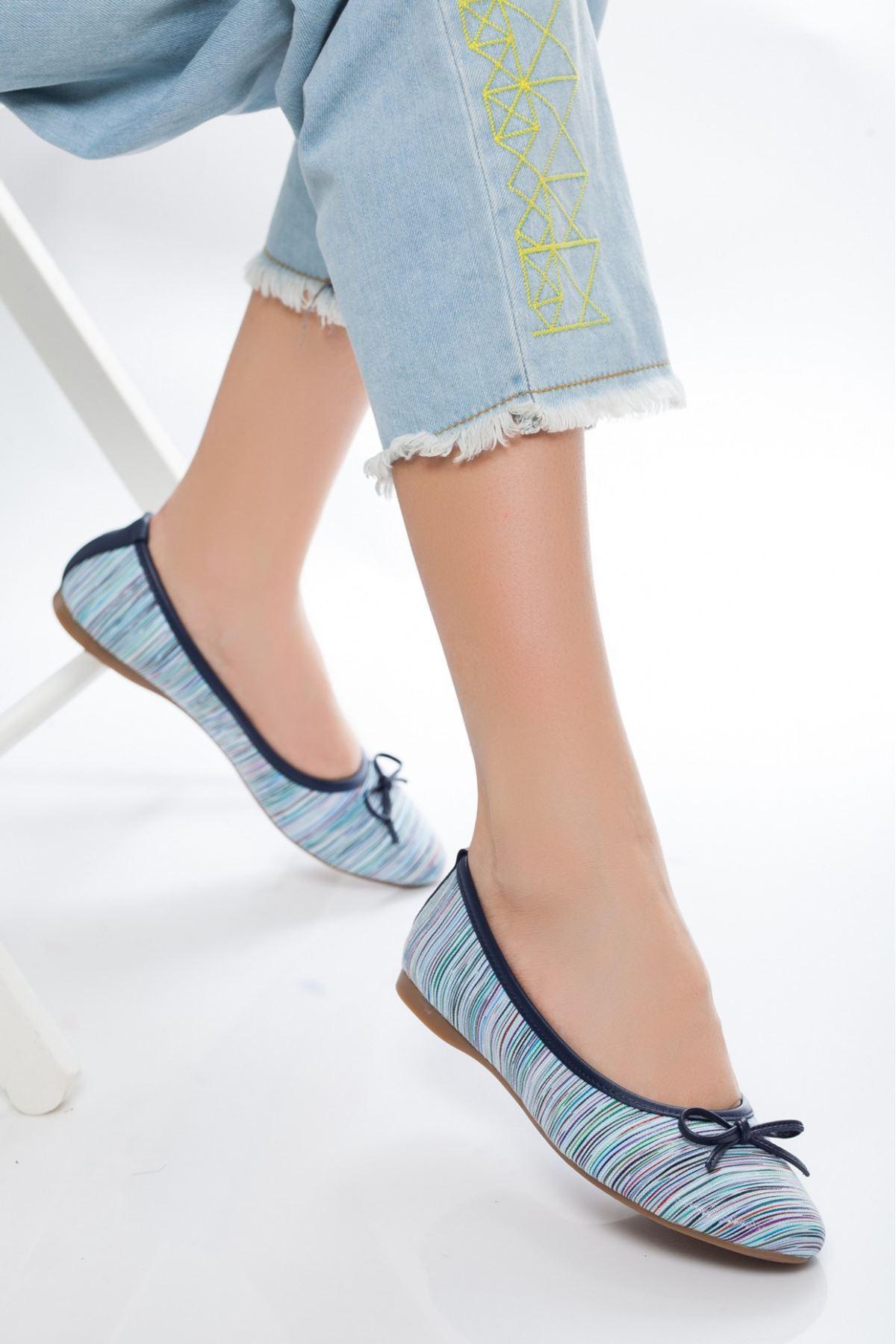 Lela Mavi Çizgili Babet Ayakkabı
